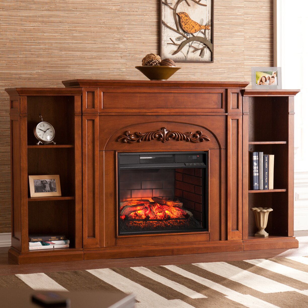 Three Posts™ Boylston Stacked Infrared Electric Fireplace - Three Posts™ Boylston Stacked Infrared Electric Fireplace