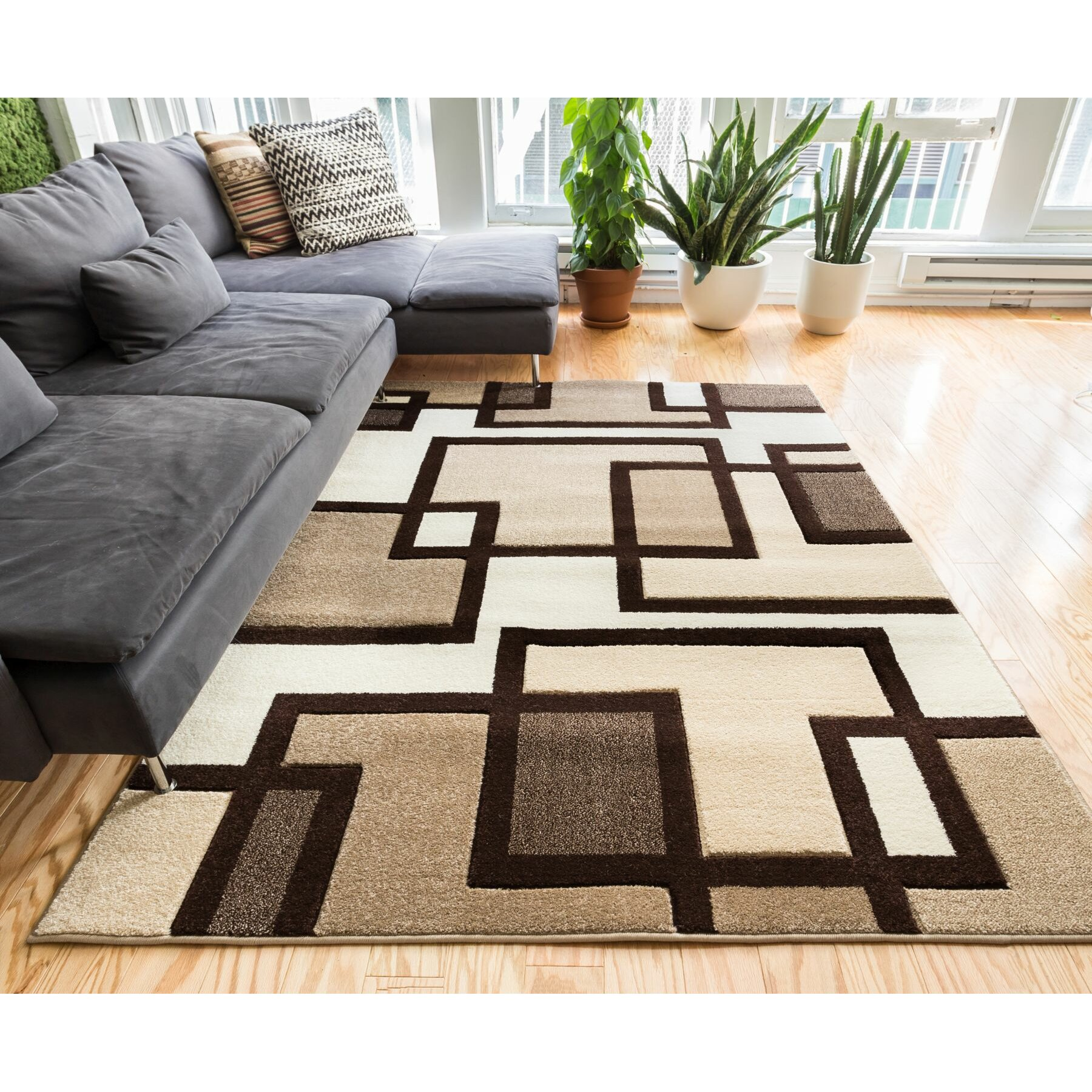 Well Woven Ruby Imagination Squares Contemporary Area Rug