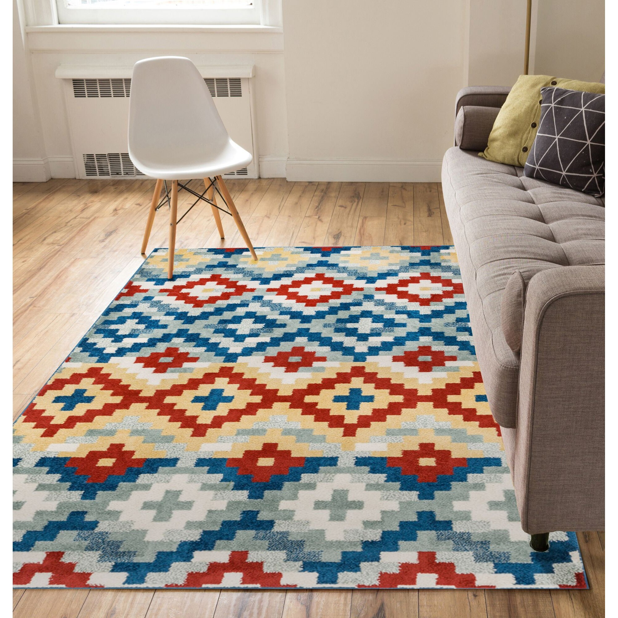 Well woven mystic austin red blue area rug for Red and blue area rug