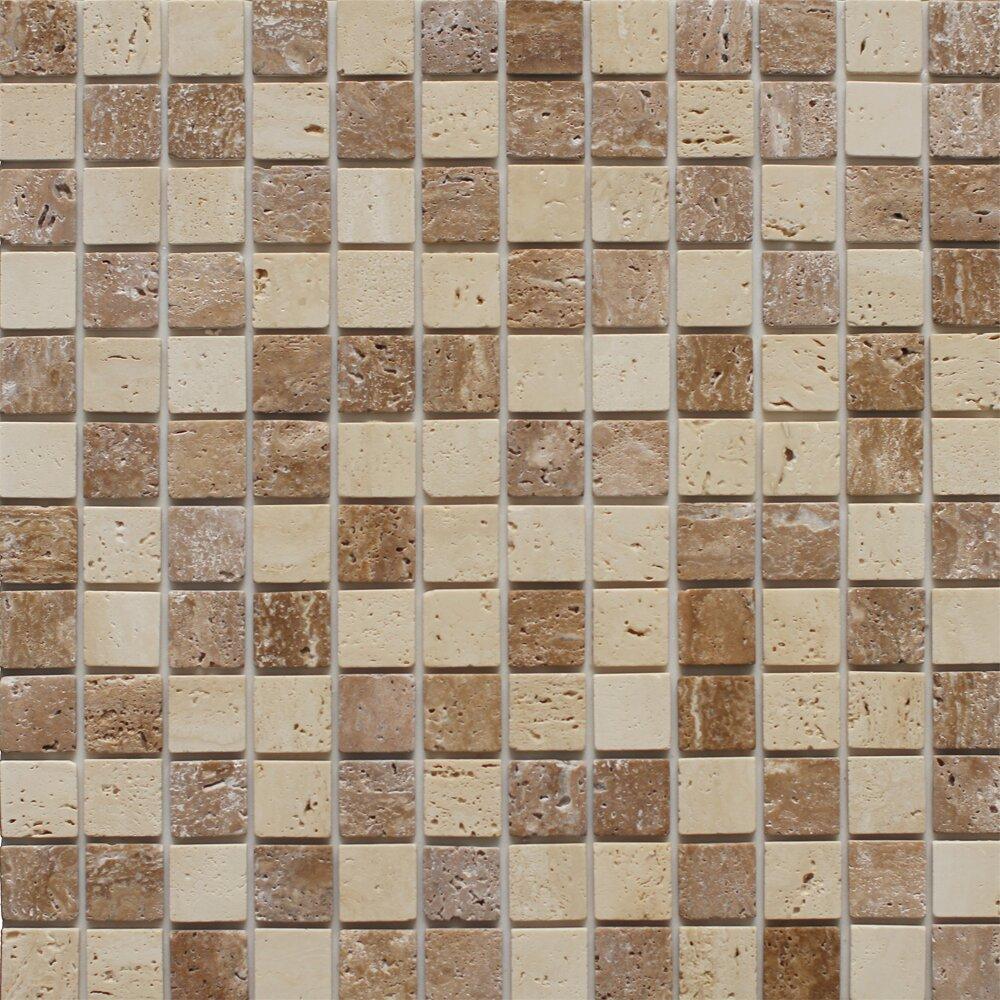 instant mosaic 12 39 39 x 12 39 39 natural stone peel stick mosaic tile in dark brown beige. Black Bedroom Furniture Sets. Home Design Ideas