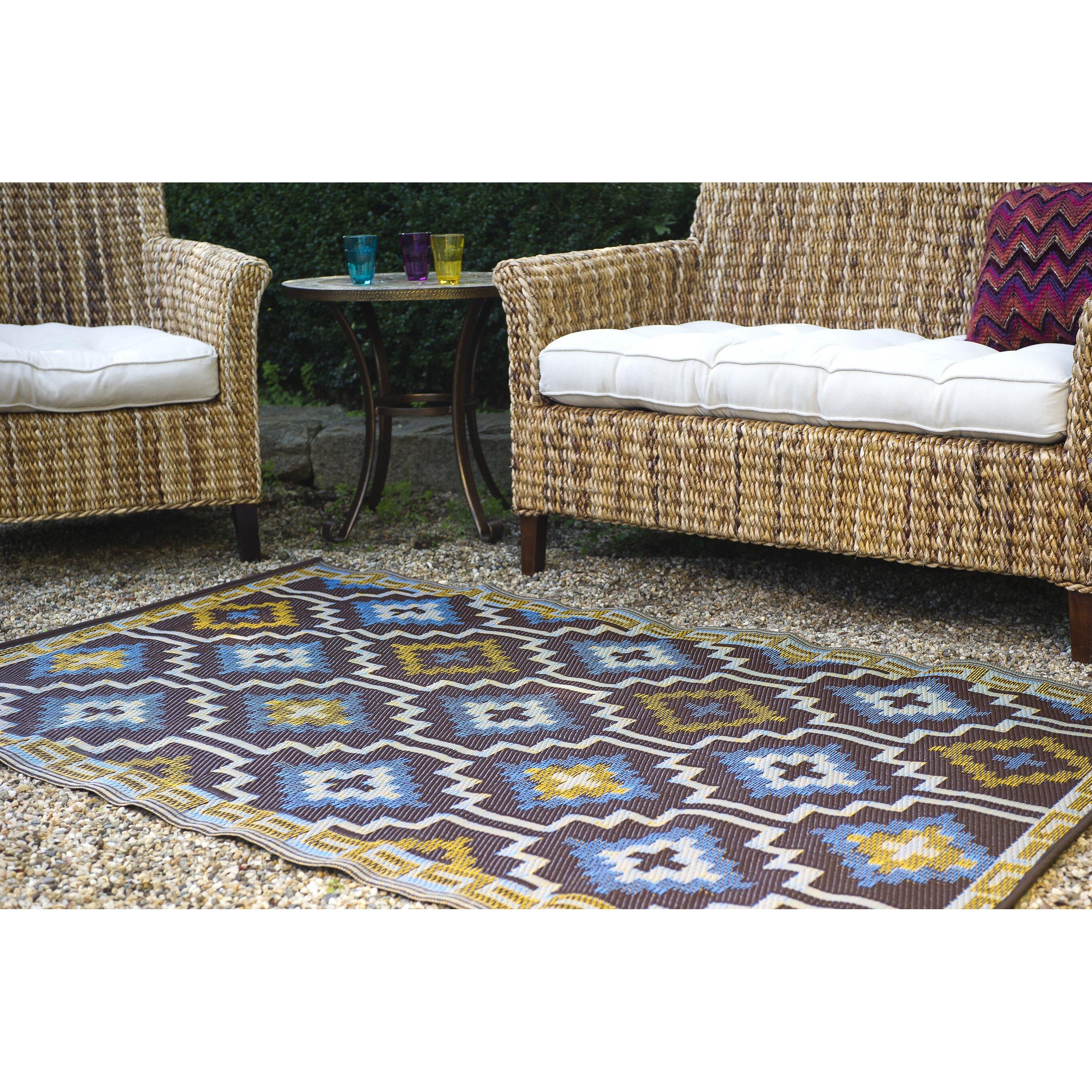 Recycled Plastic Outdoor Rugs Uk: AlpenHome Madawaska Hand-Woven Blue Indoor/Outdoor Area