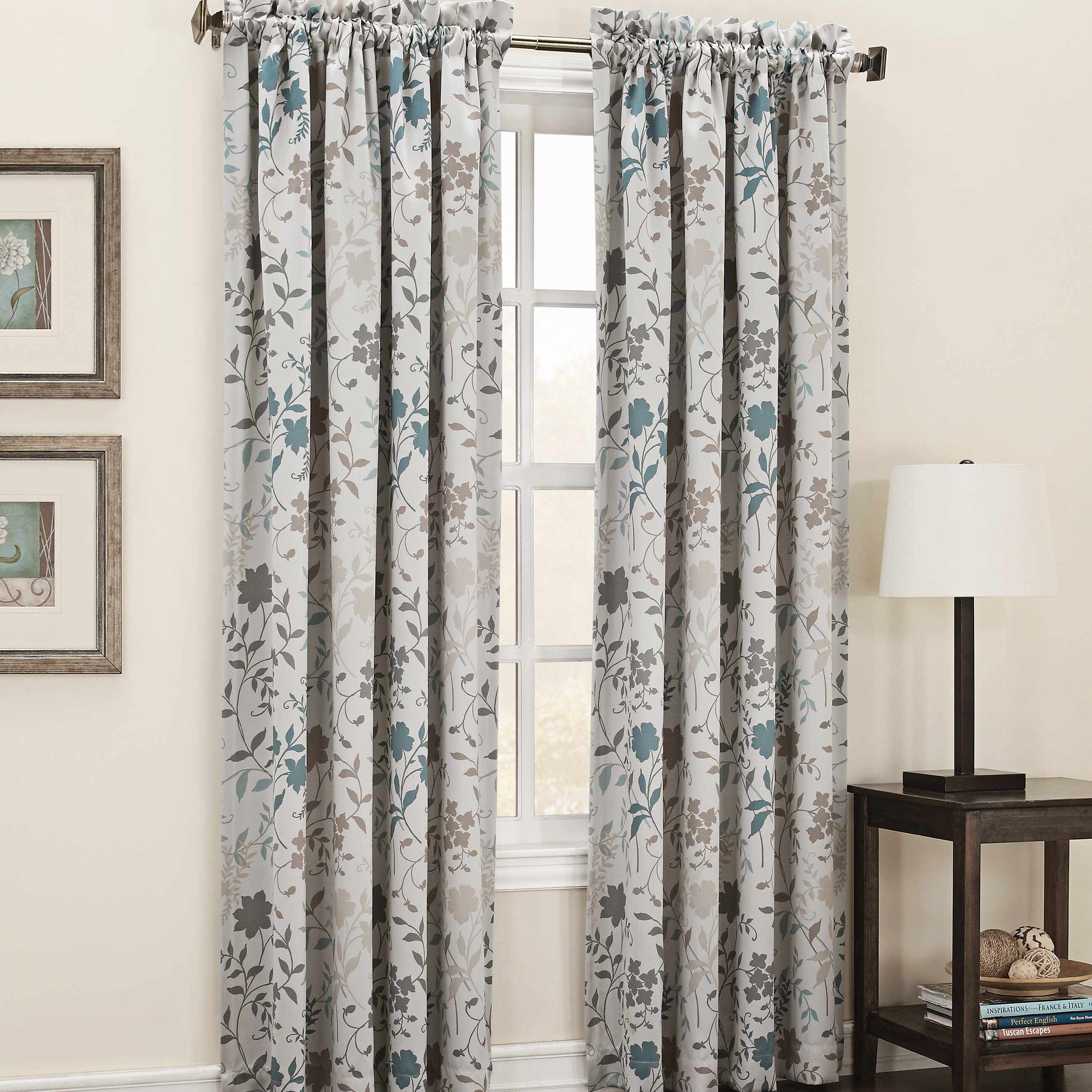 Living Room Curtain Panels Sun Zero Auburn Floral Print Rod Pocket Single Curtain Panel