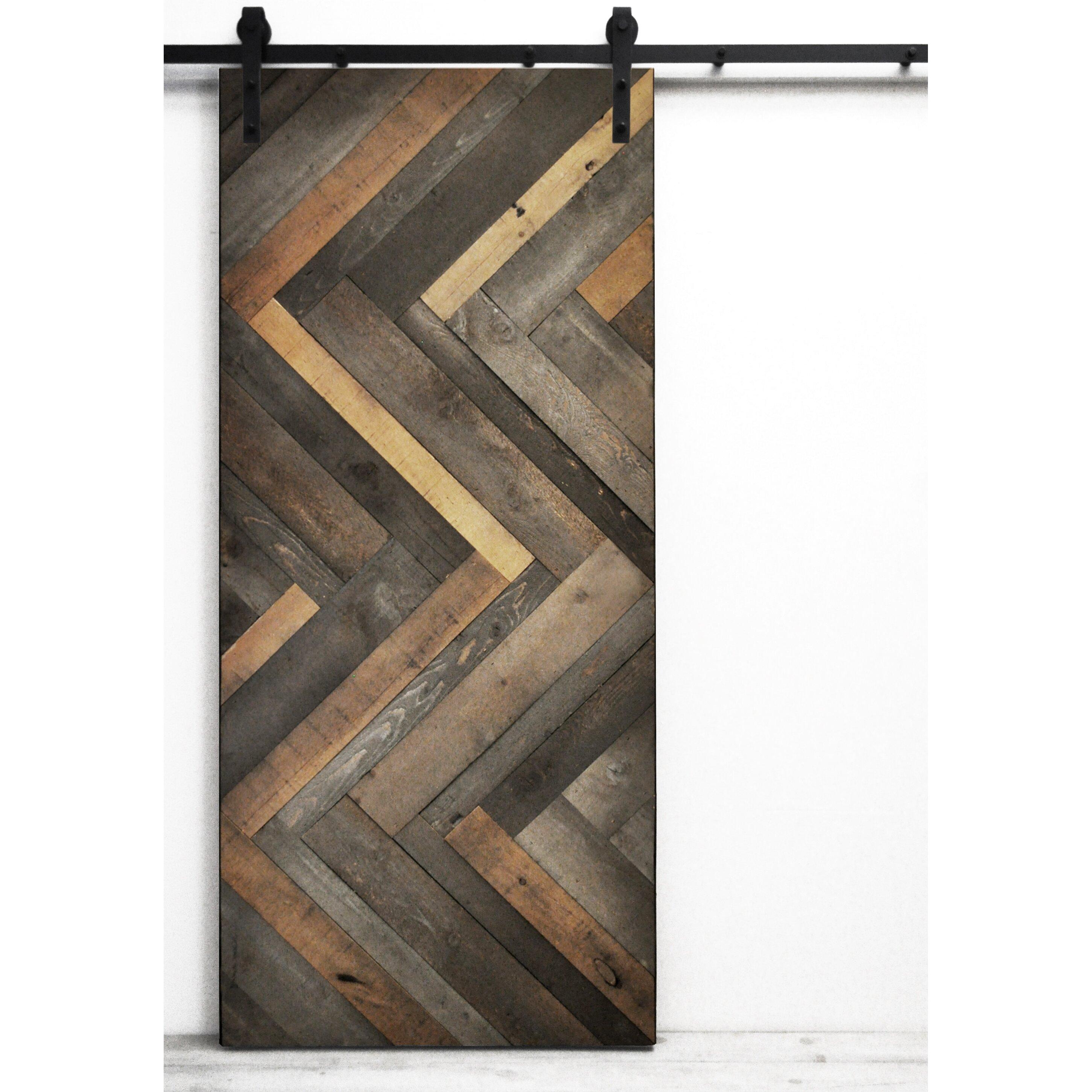 Herringbone Wood Lacquer Stained Interior Barn Door. Sliding Barn Door Cabinet   Wayfair