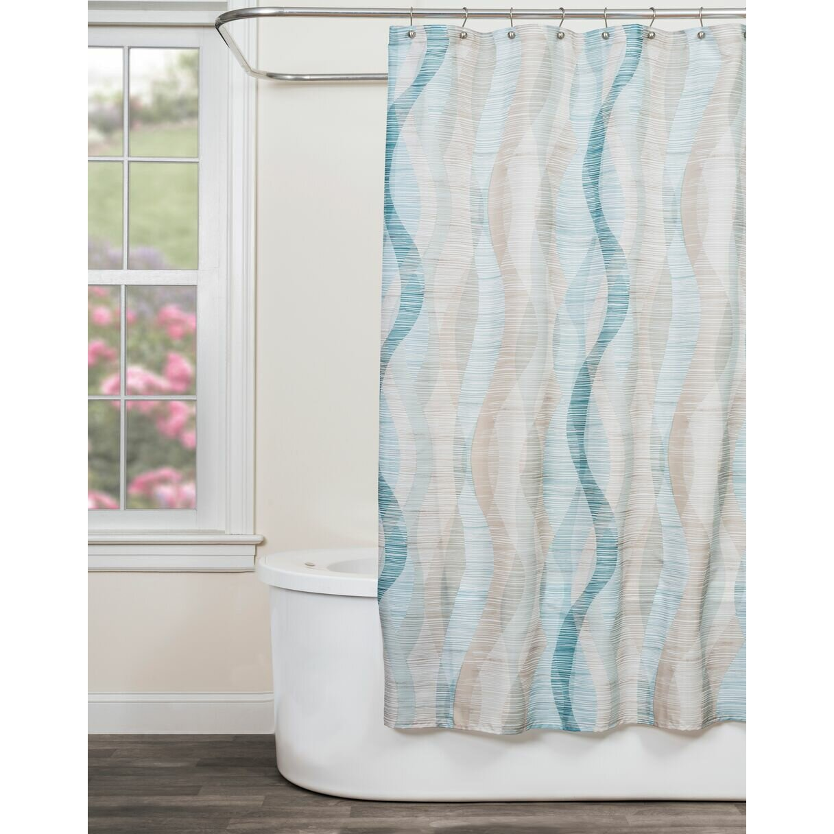 Striped Shower Curtains Youll Love Wayfair - Chocolate coral and gold shower curtain