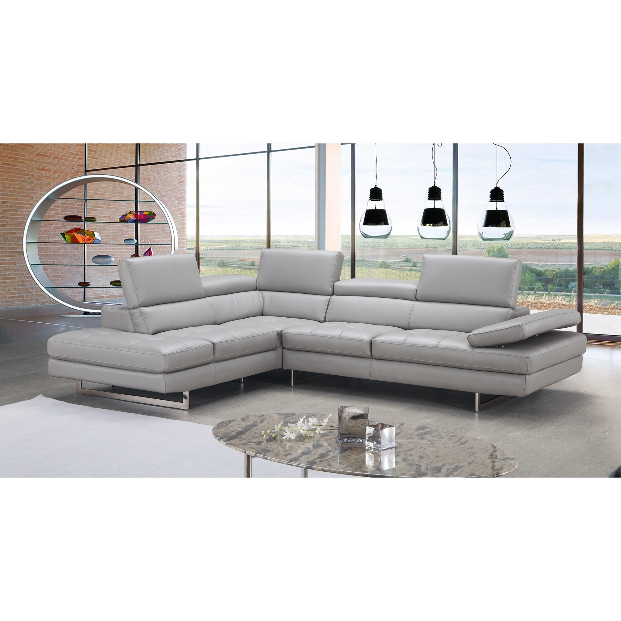 J Amp M Furniture Aurora Premium Leather Sectional Amp Reviews
