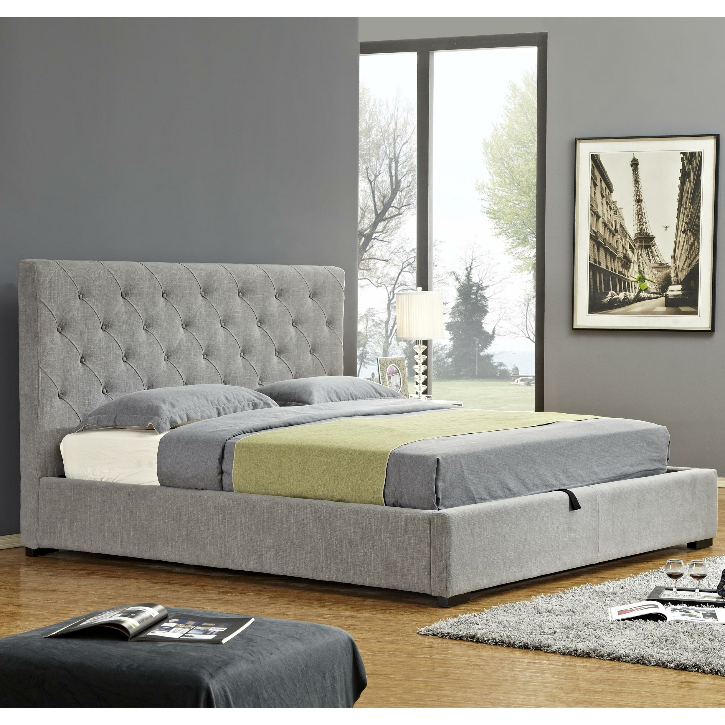 j m furniture upholstered storage platform bed reviews wayfair. Black Bedroom Furniture Sets. Home Design Ideas