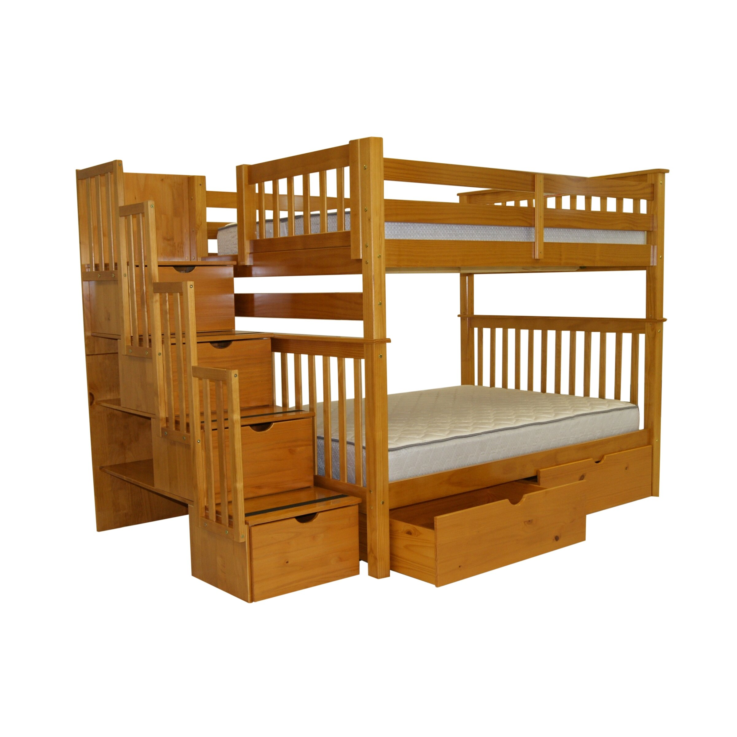Pine bunk beds with storage - Bedz King Full Over Full Bunk Bed With Storage