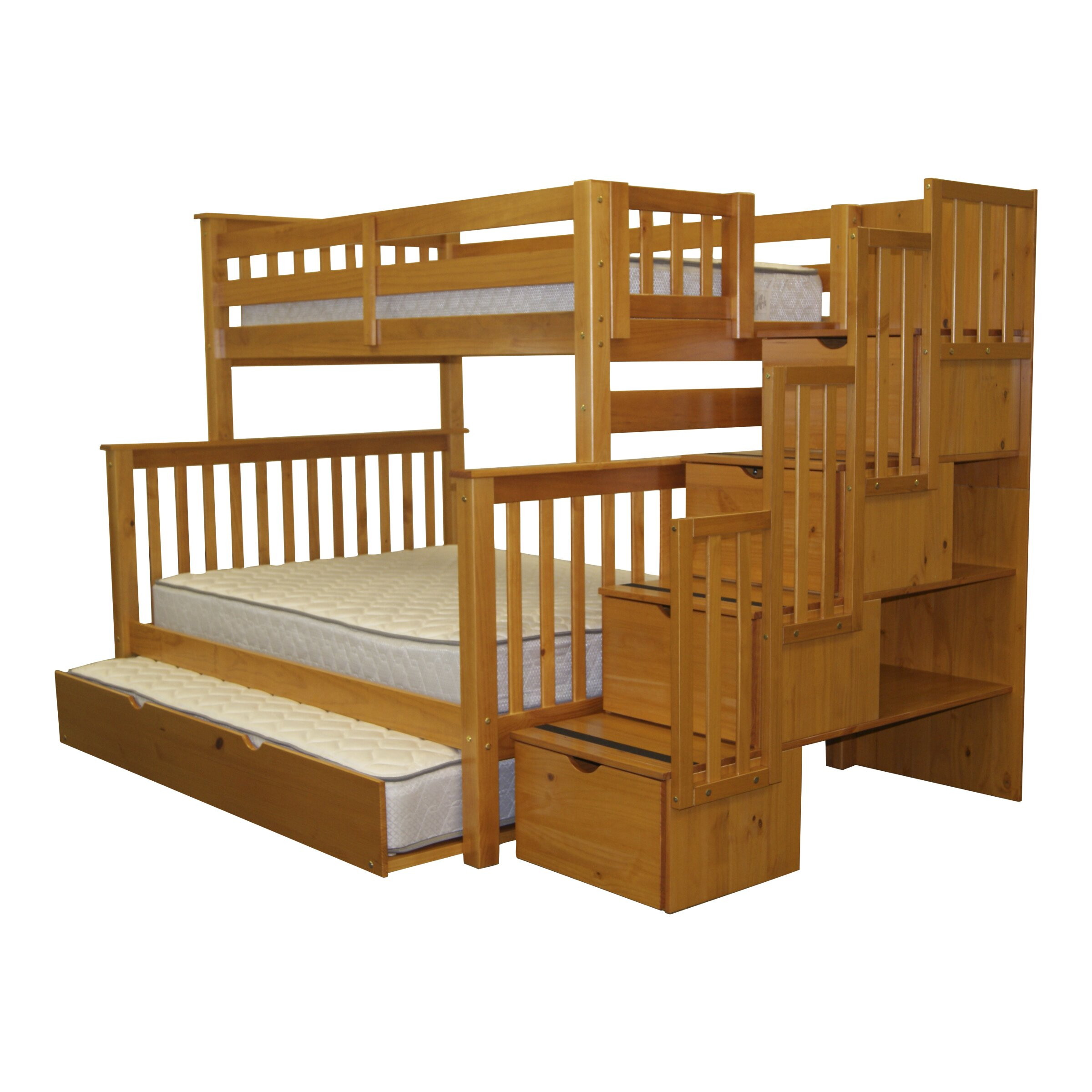 Bedz King Twin over Full Bunk Bed with Storage & Reviews