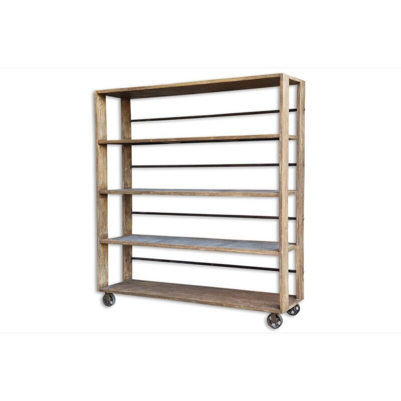"""Cdi International Industrial Kitchen Cart With Mango Top: CDI International Reclaimed 78"""" Etagere Bookcase"""