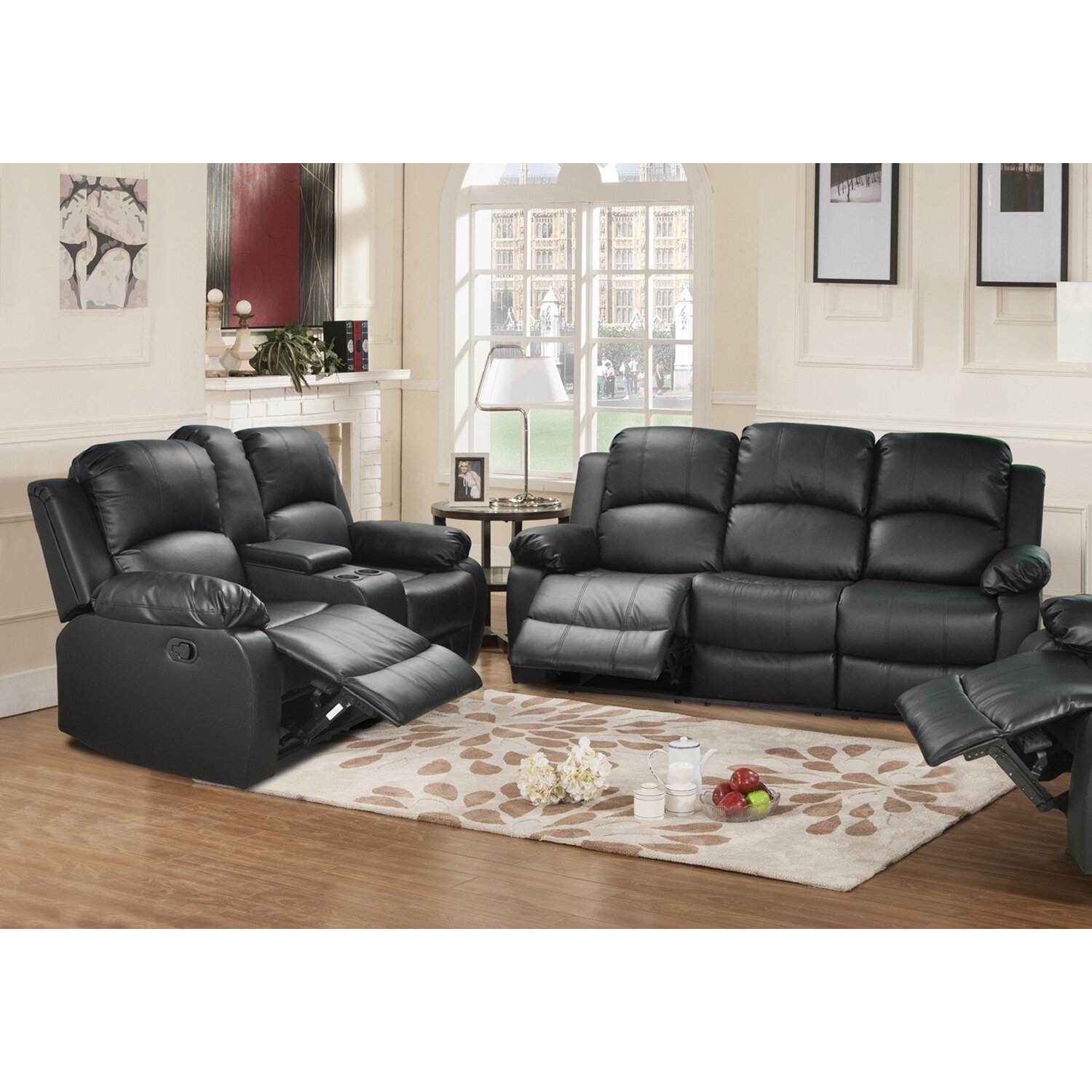 Leather reclining living room sets modern house Reclining living room furniture