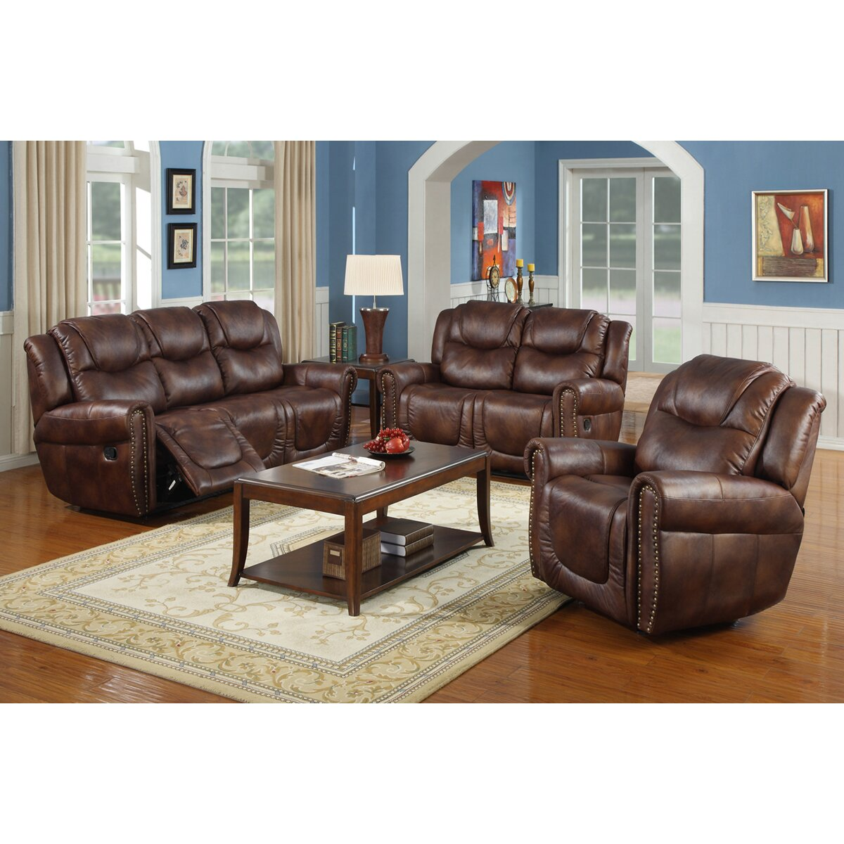 Beverly fine furniture toledo 3 piece bonded leather for 3 piece living room furniture set