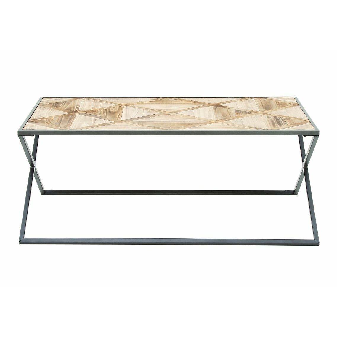 Cole grey metal and wood coffee table wayfair for Gray wood and metal coffee table