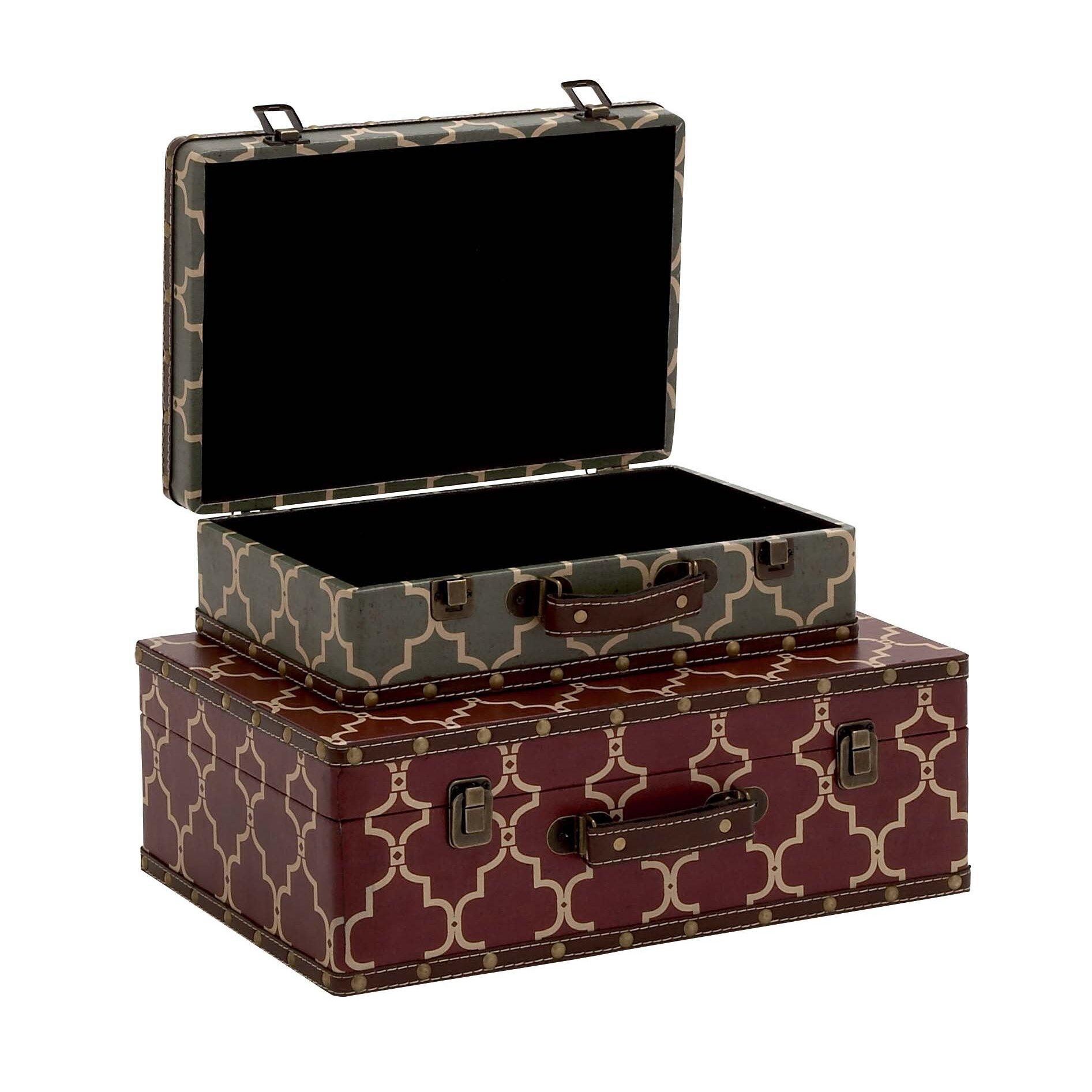 Cole grey wood vinyl suitcase 2 piece decorative box set for Decor containers coles