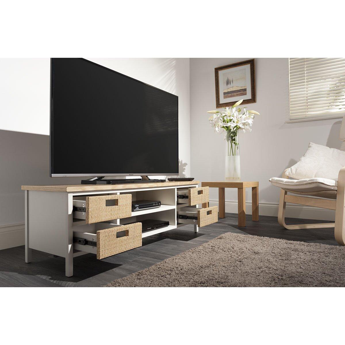 techlink tv regal wicker f r fernseher bis 55. Black Bedroom Furniture Sets. Home Design Ideas