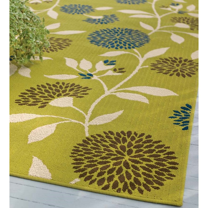 Plow Amp Hearth Floral Surry Rug Green Indoor Outdoor Area