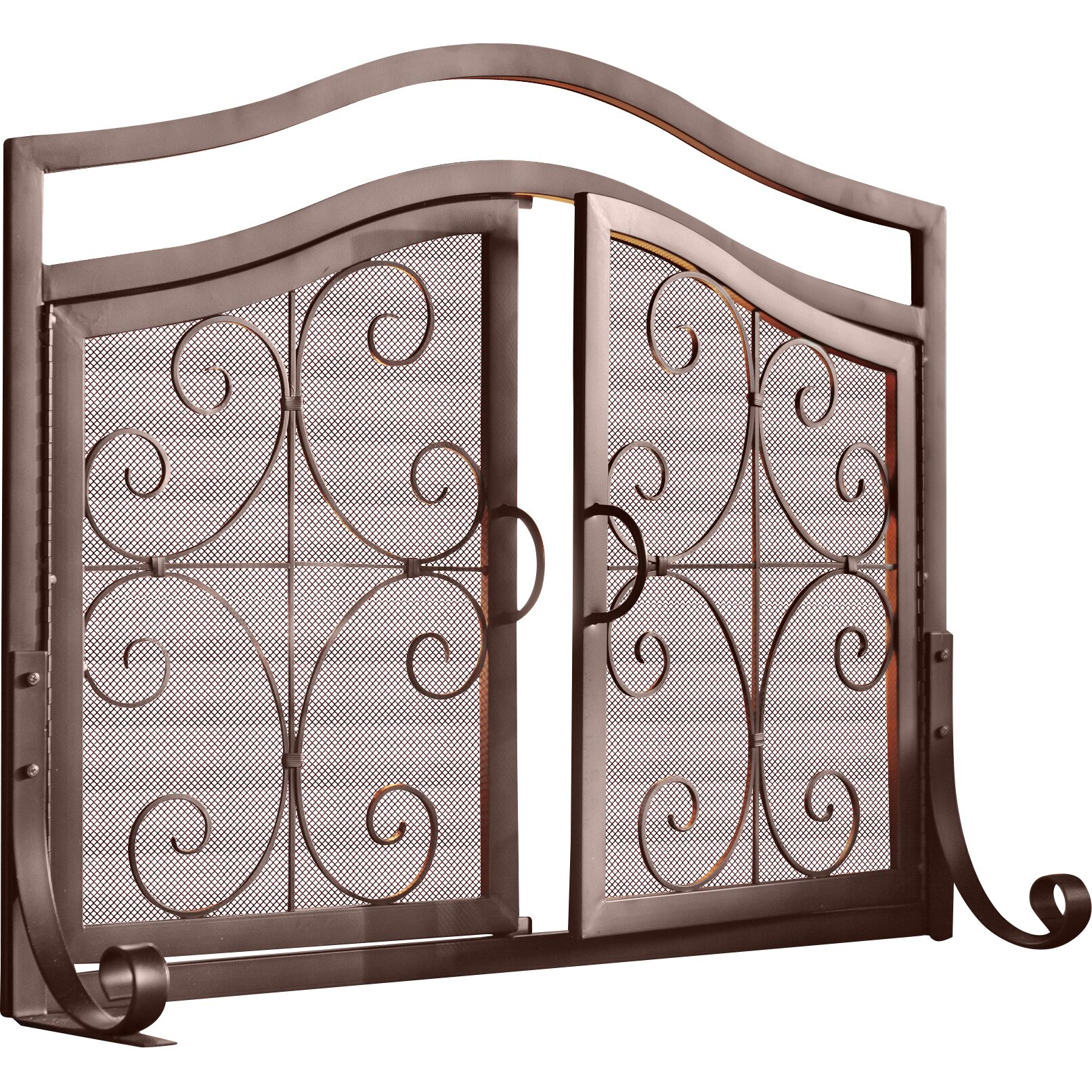 plow hearth small crest fireplace screen with doors reviews