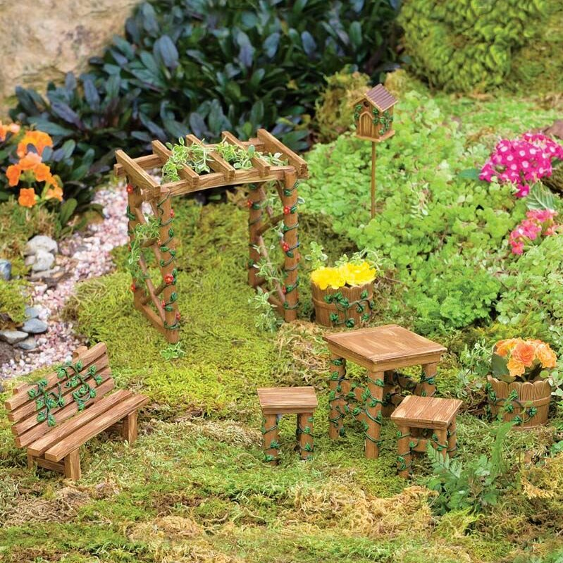Plow And Hearth Furniture: Plow & Hearth Miniature 8 Piece Fairy Garden Ivy Furniture