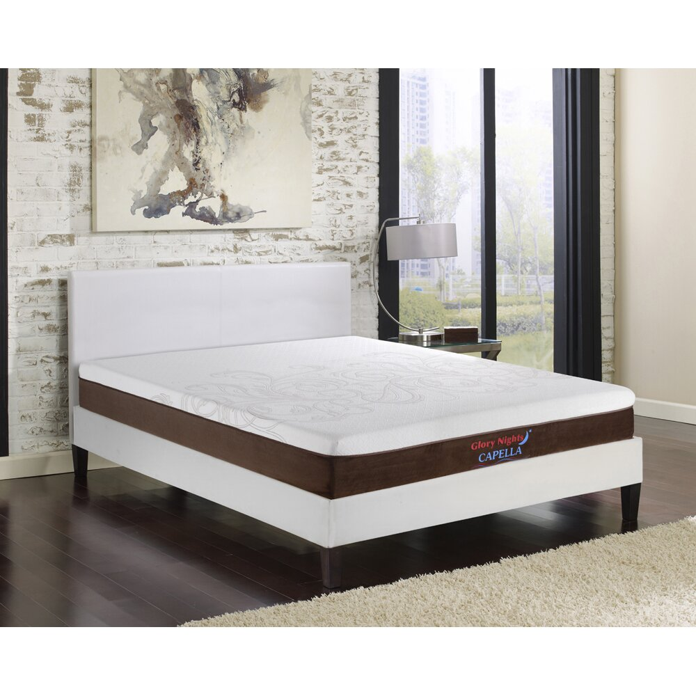 Mia Queen Vinyl Platform Bed Frame With 10 Memory Foam Mattress