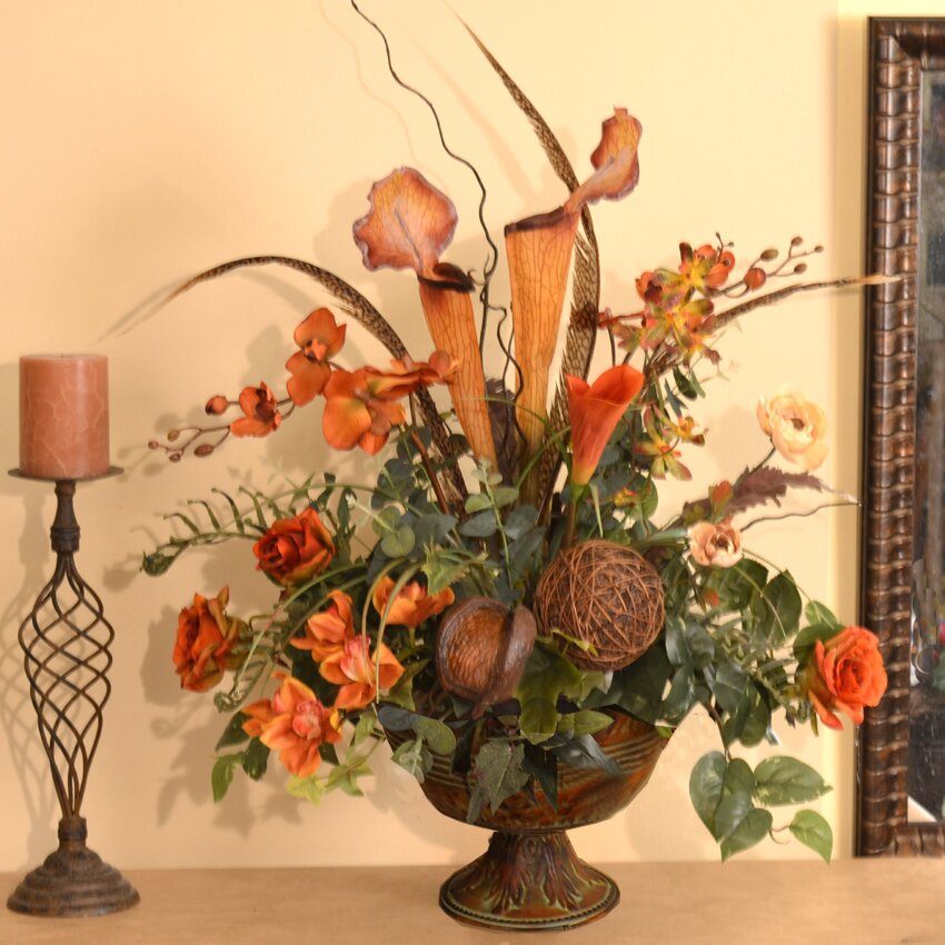 Floral Home Decor Orchids Pitcher Plant And Feather Faux Floral Arrangement