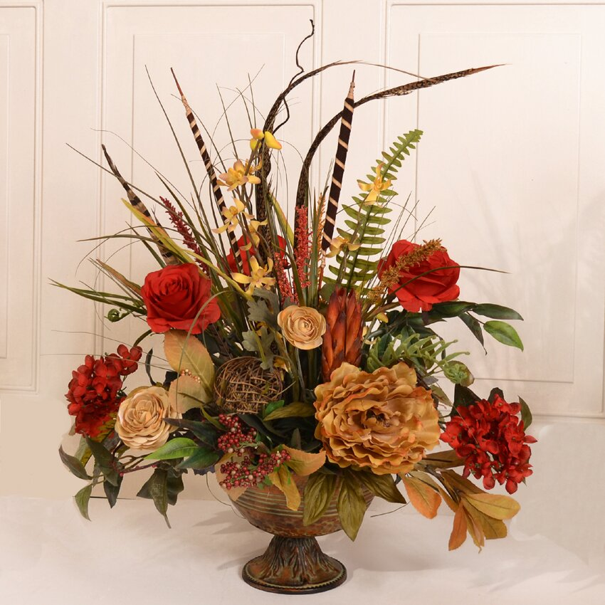 Flowers For Home Decor: Floral Home Decor Silk Flower Arrangement With Feathers