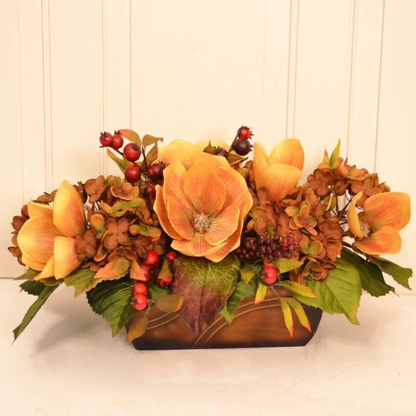 floral home decor magnolia and hydrangea silk floral arrangement - Silk Arrangements For Home Decor 2
