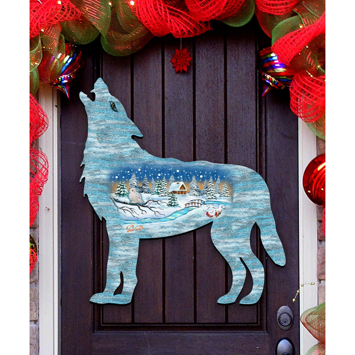 Decorative Door Hangers G Debrekht Wolf Scenic Woodsy Winter Cabin Wooden Decorative Door