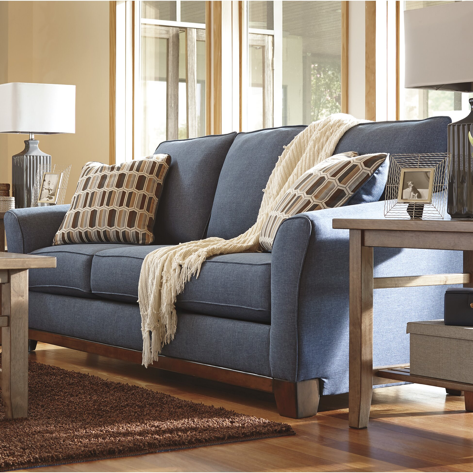 Benchcraft Janley Denim Sofa Amp Reviews Wayfair