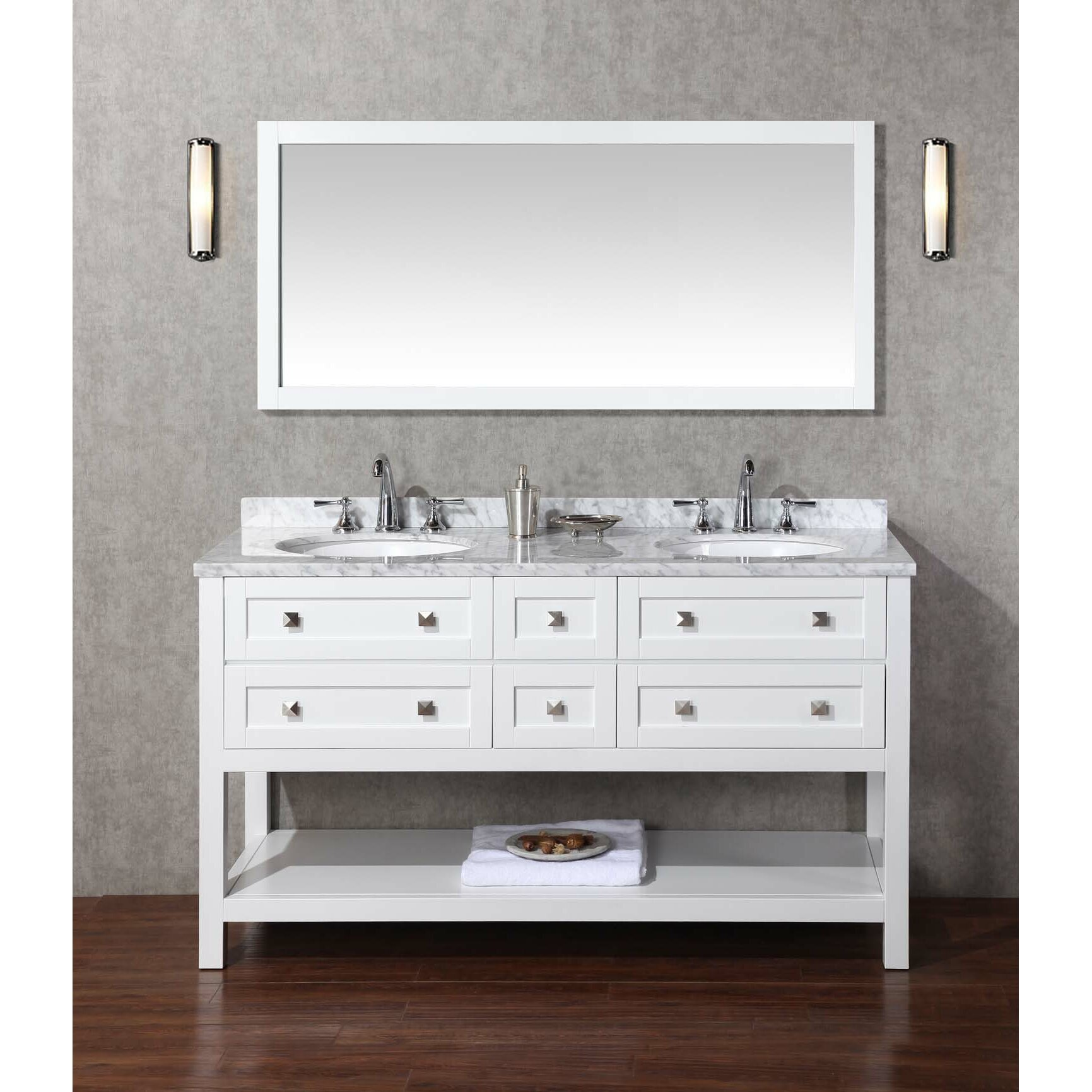Bathroom sink and mirror - Dcor Design Albia 60 Quot Double Sink Bathroom Vanity Set With Mirror