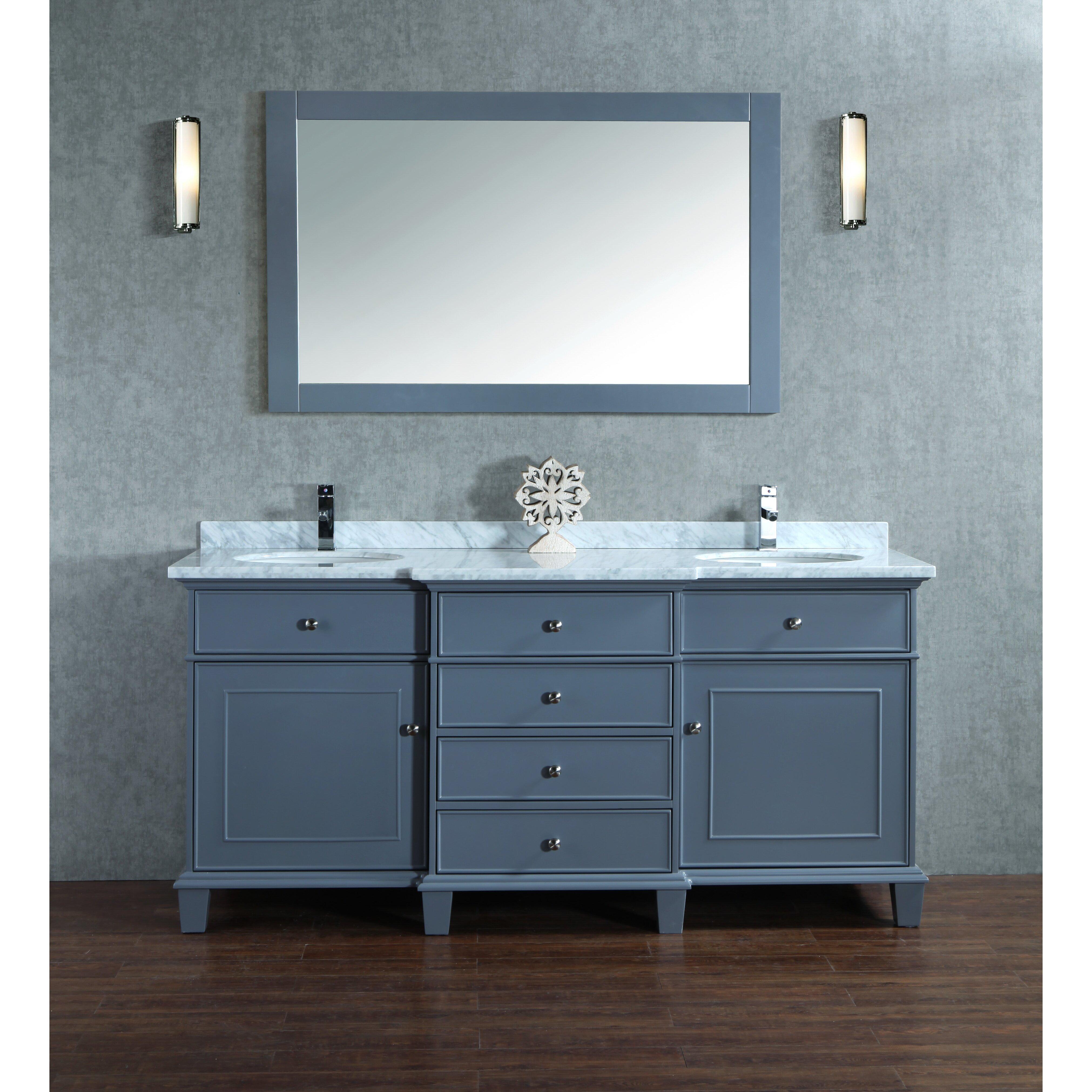 melton quot double sink bathroom vanity set with mirror: 55 inch double sink bathroom vanity