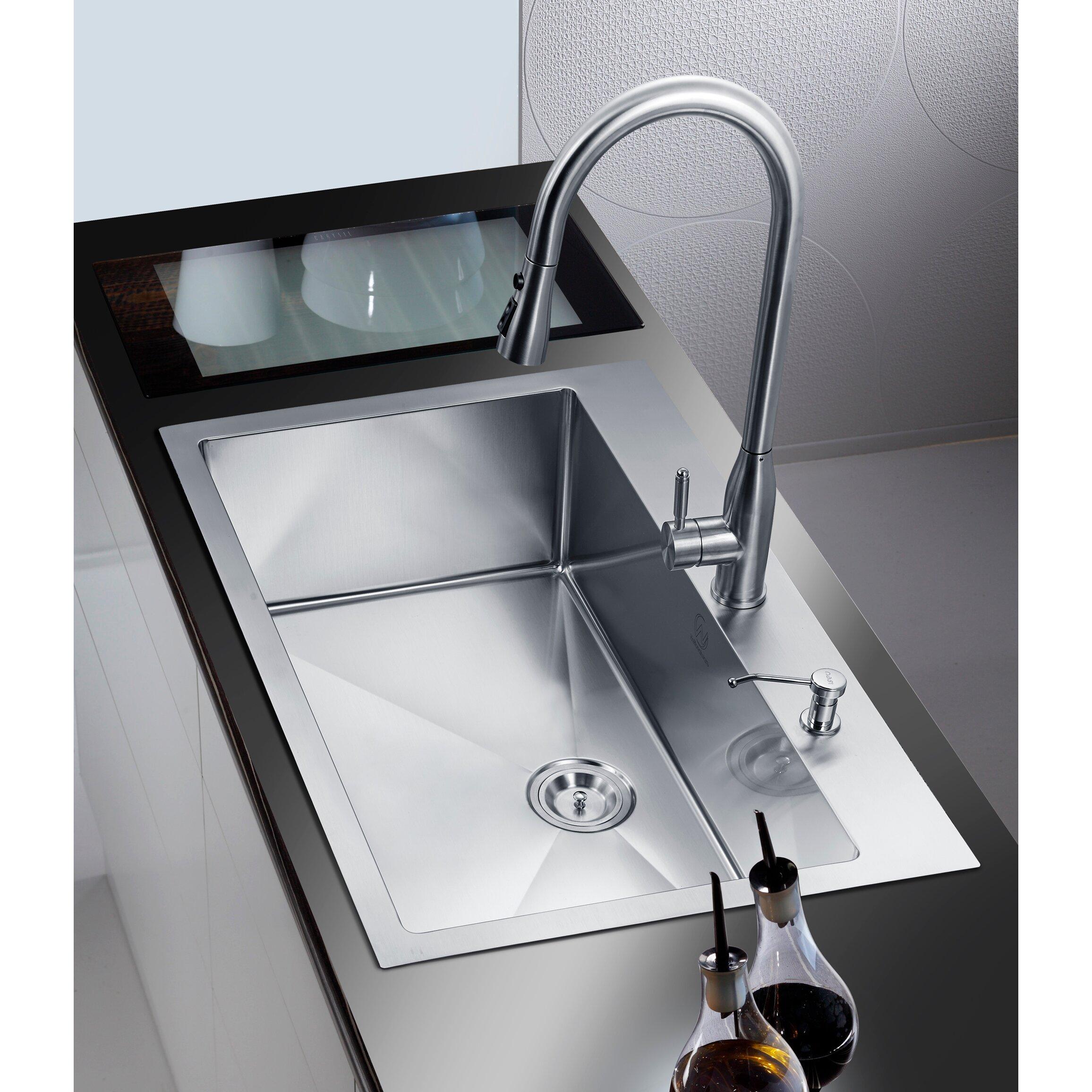 dCOR design 33 quot  x 22 quot  Single Drop In. dCOR design 33  x 22  Single Drop In Kitchen Sink   Reviews   Wayfair