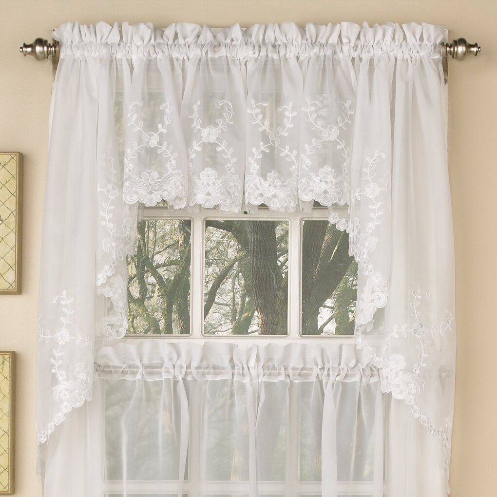 Sweet Home Collection Laurel Leaf Sheer Voile Embroidered