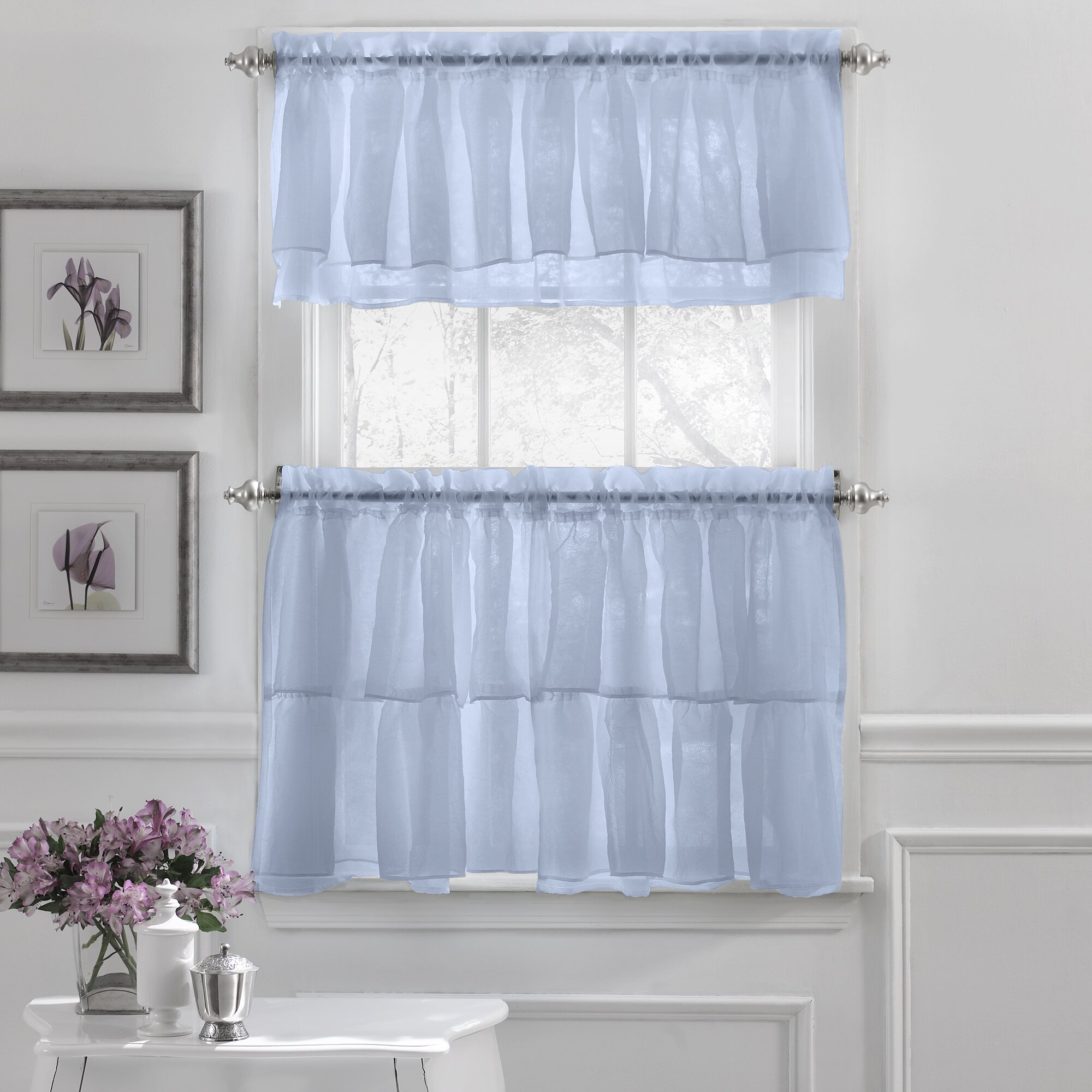 Country ruffled shower curtains - Blue Country Shower Curtains French Country Shower Curtain Sweet Home Collection Elegant Crushed Voile Ruffle