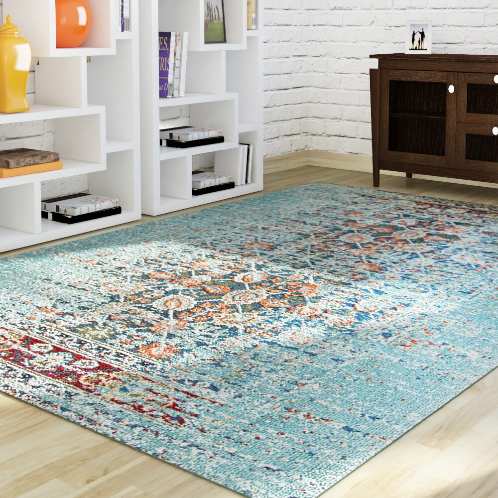 Mercury row artemis aqua area rug reviews for Area carpets and rugs