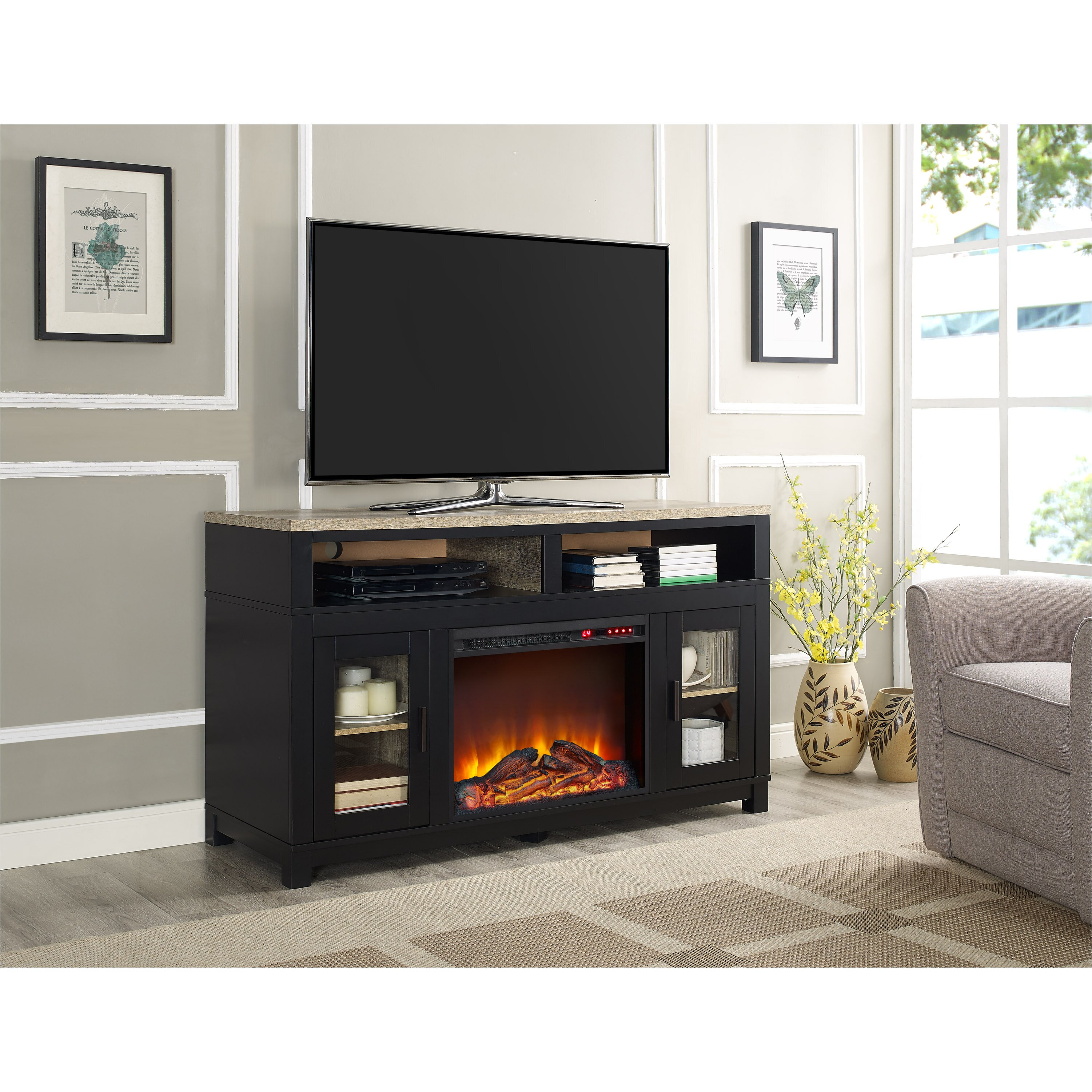 White tv stand with electric fireplace - Callowhill Tv Stand With Electric Fireplace
