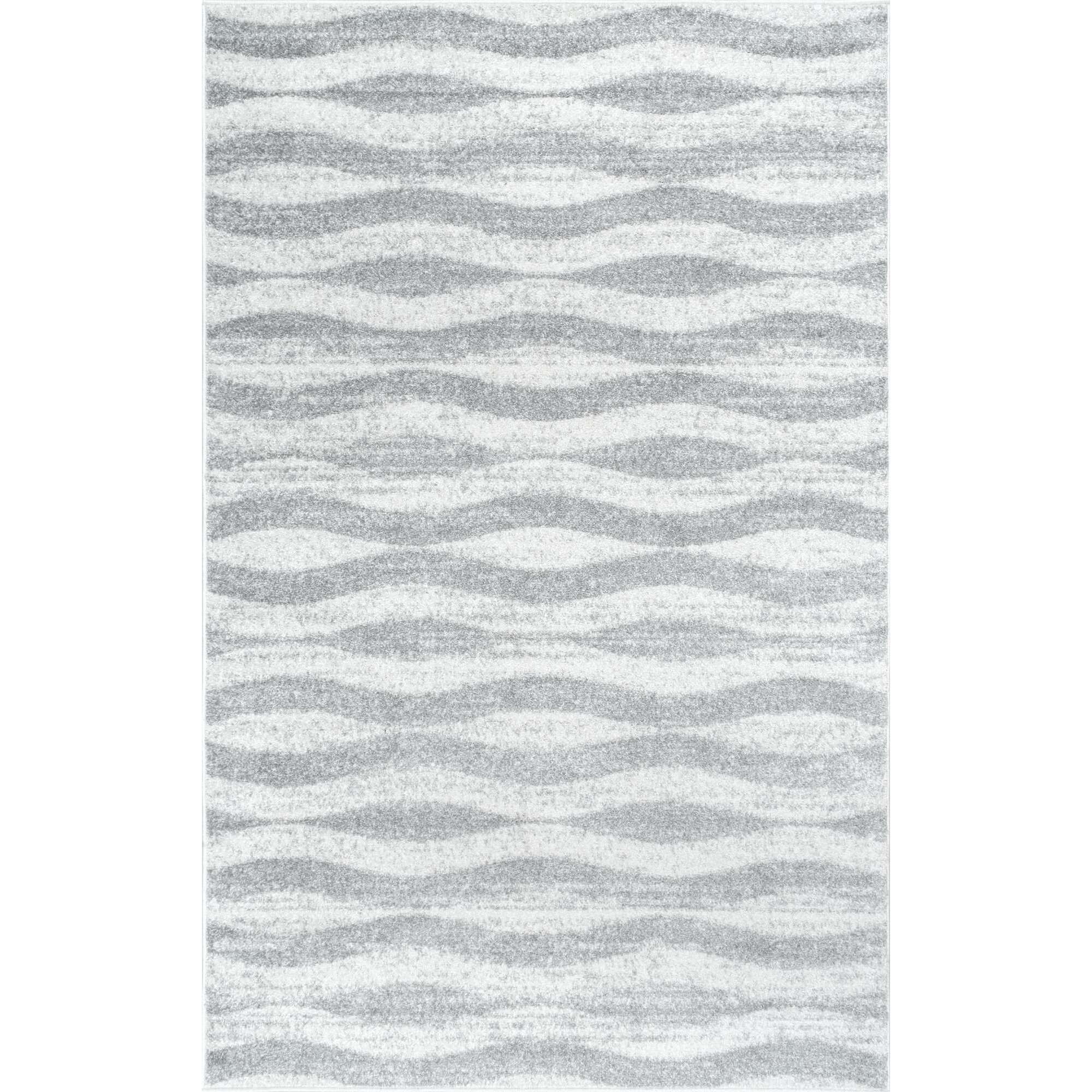 Mercury Row Lada Abstract Waves Gray White Area Rug