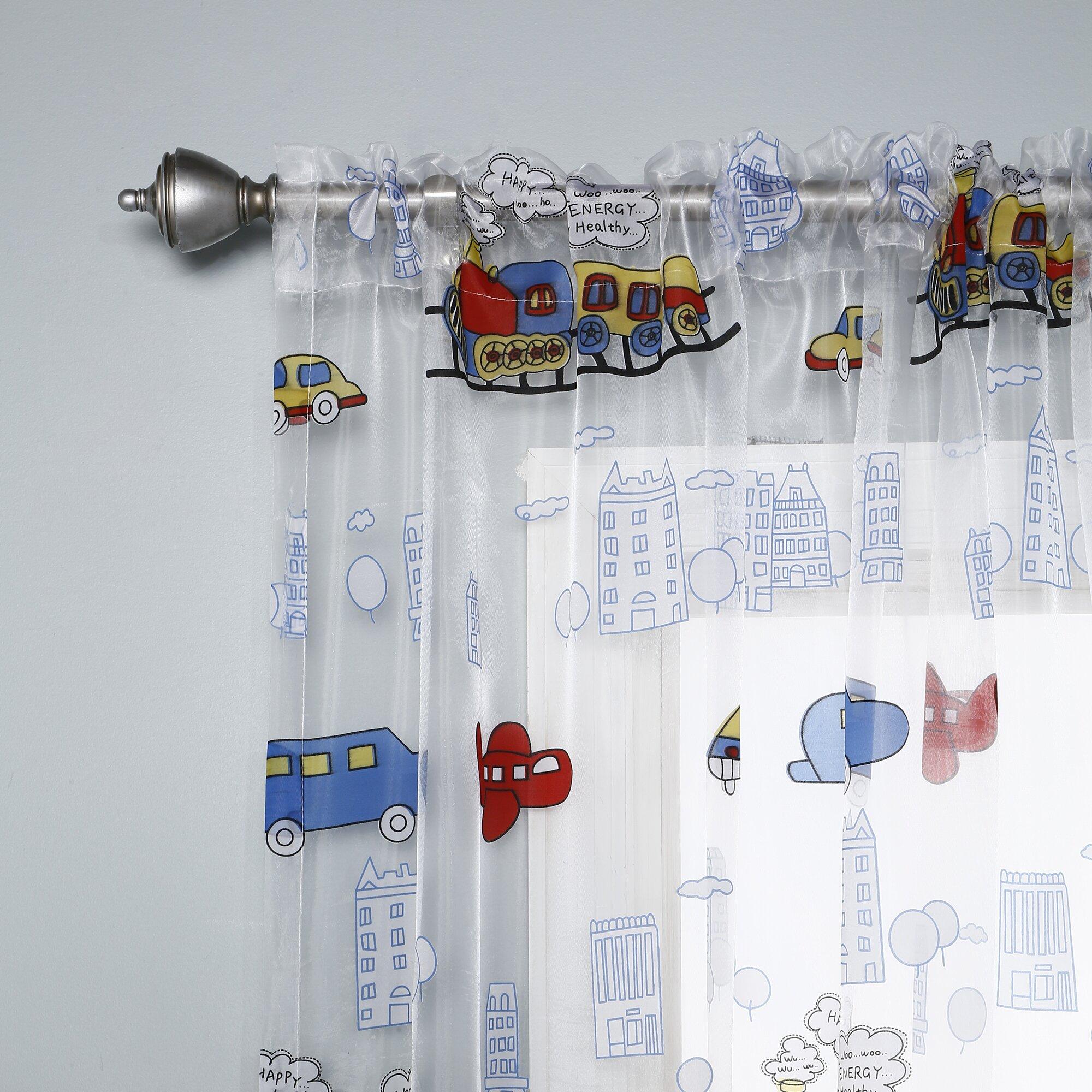 Best Home Fashion Inc Kids Car And Train Print Curtain