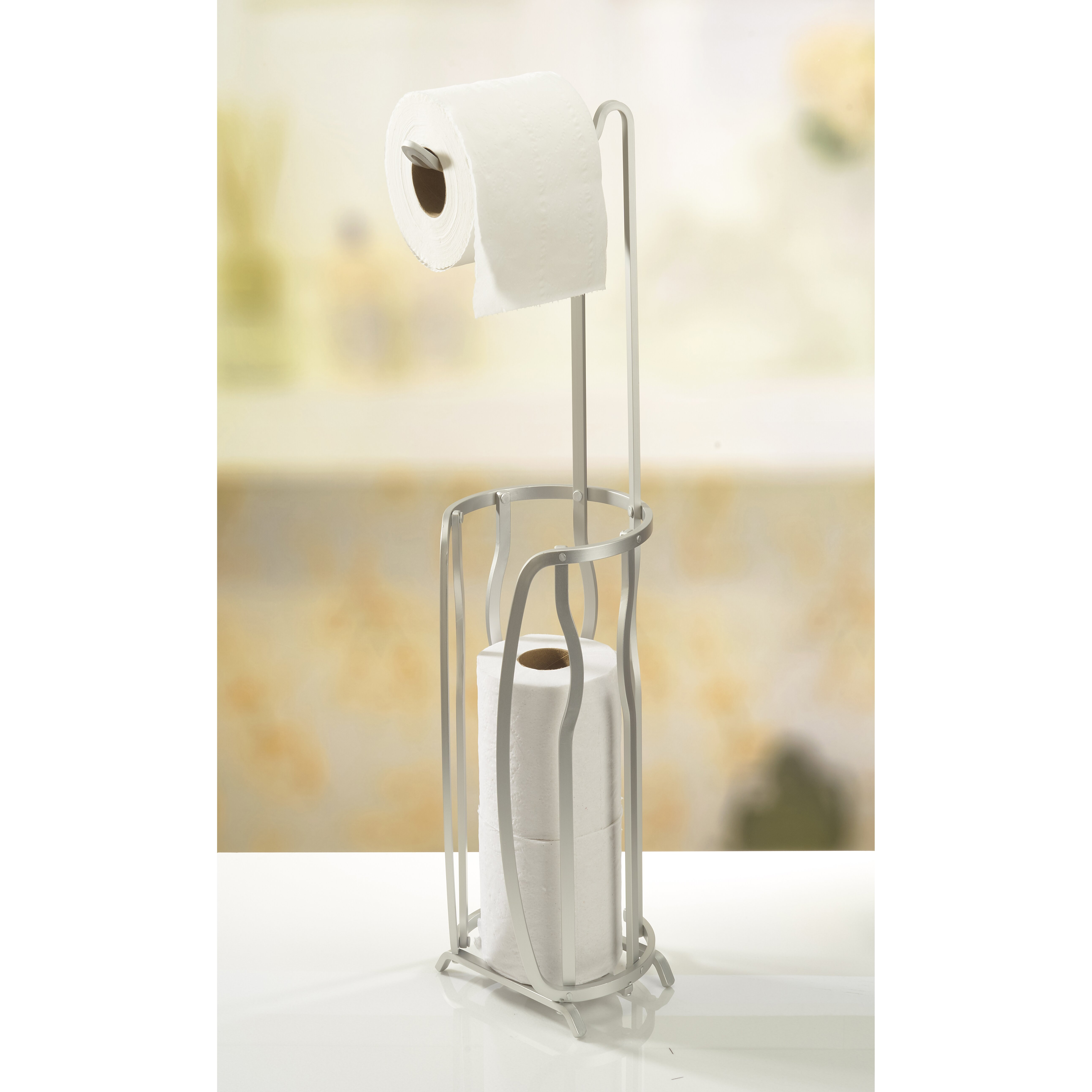 modern standing essay The attractive design of this modern free standing toilet paper holder that makes this is a very stylish and interesting design element of the bathroom.