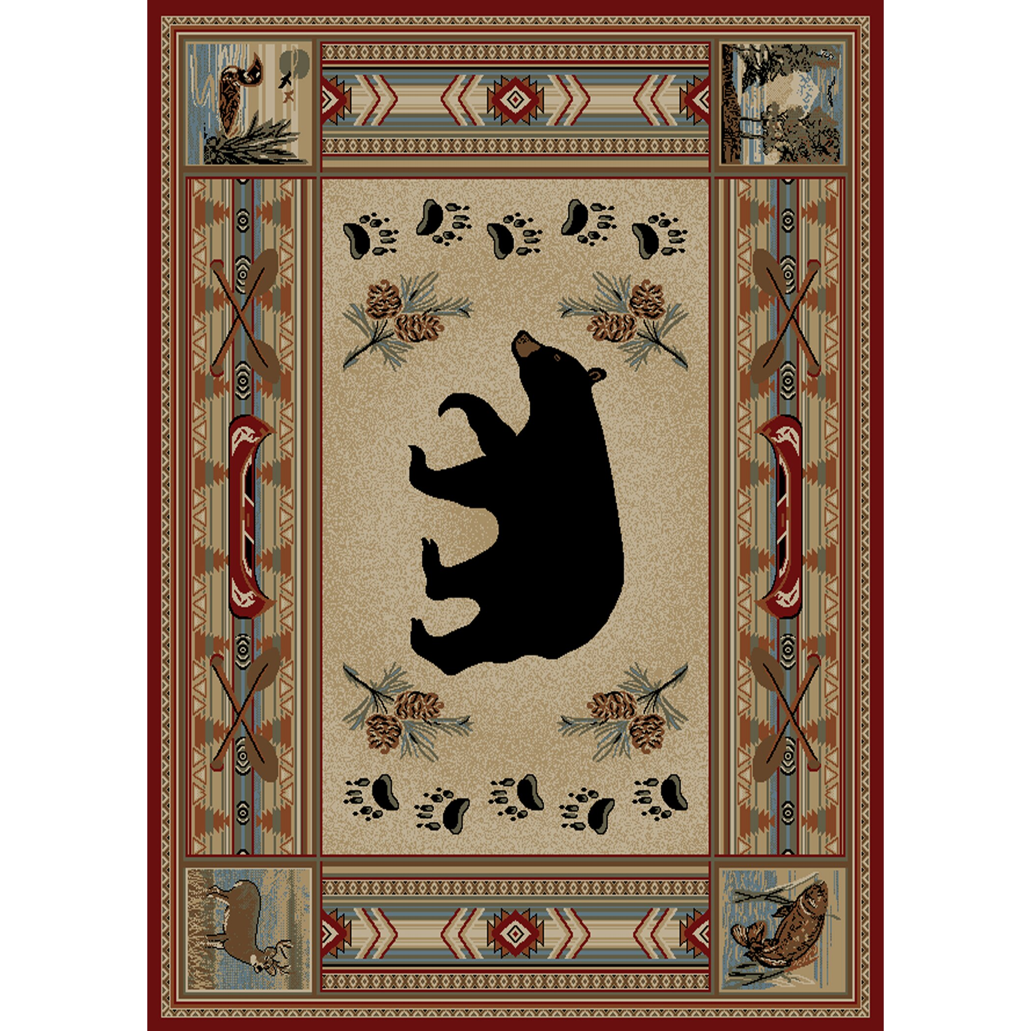 mayberry rug hearthside woodlands bear area rug - Rustic Area Rugs