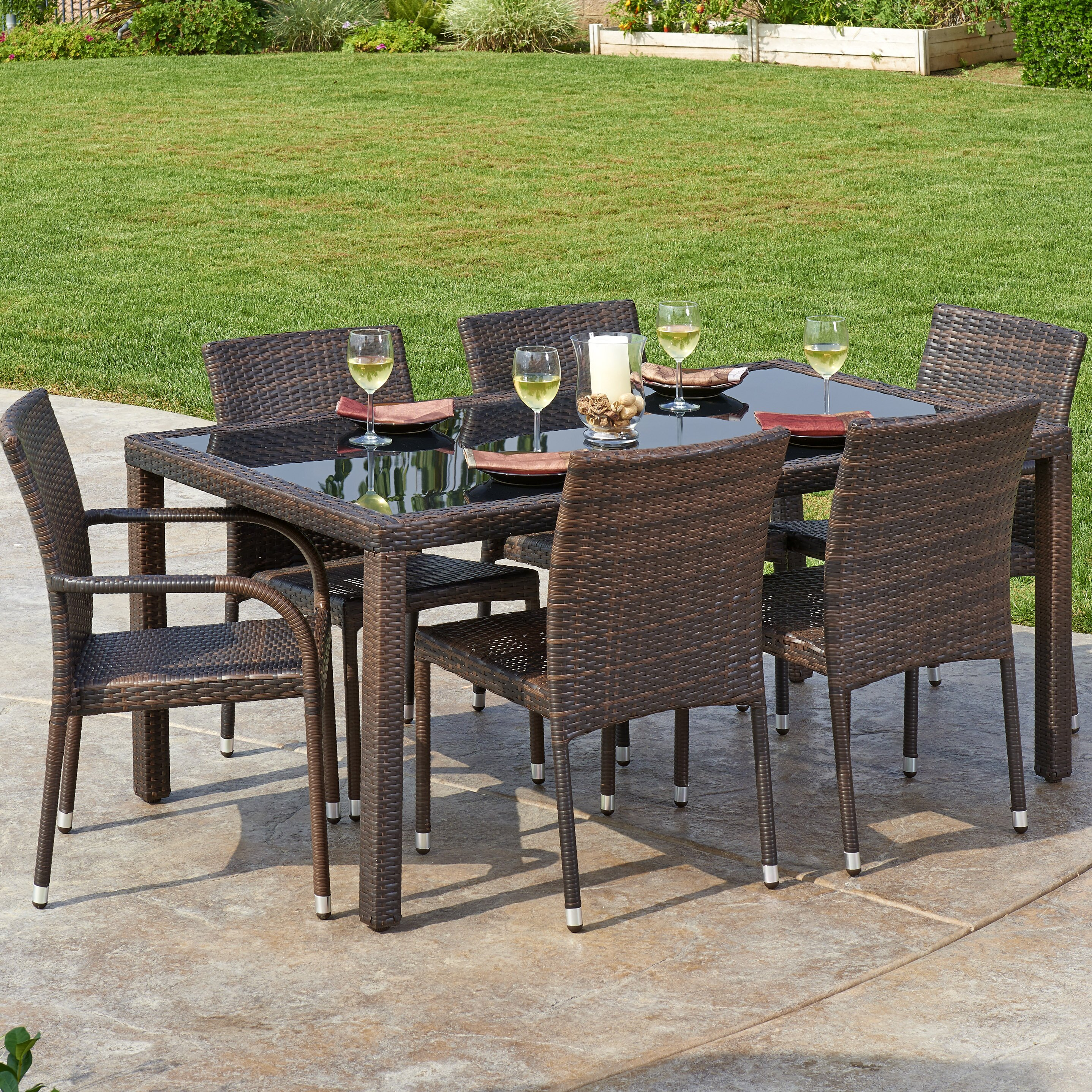 W unlimited 7 piece outdoor wicker dining set reviews for Outdoor furniture hwy 7