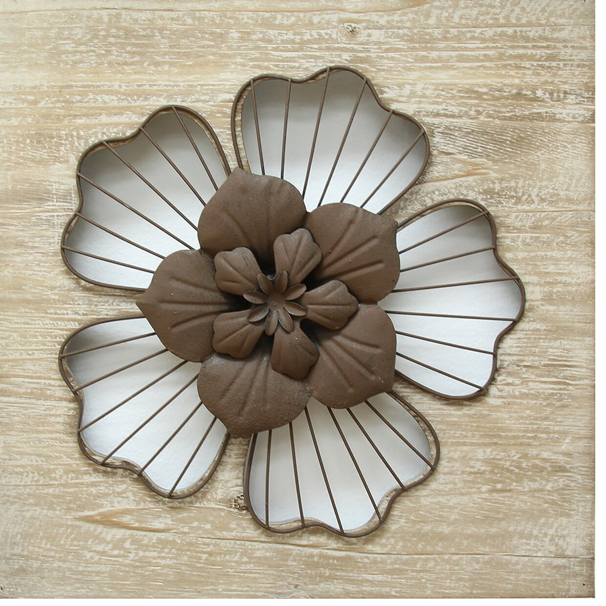 Stratton Home Decor Rustic Flower Wall Du0026eacute;cor