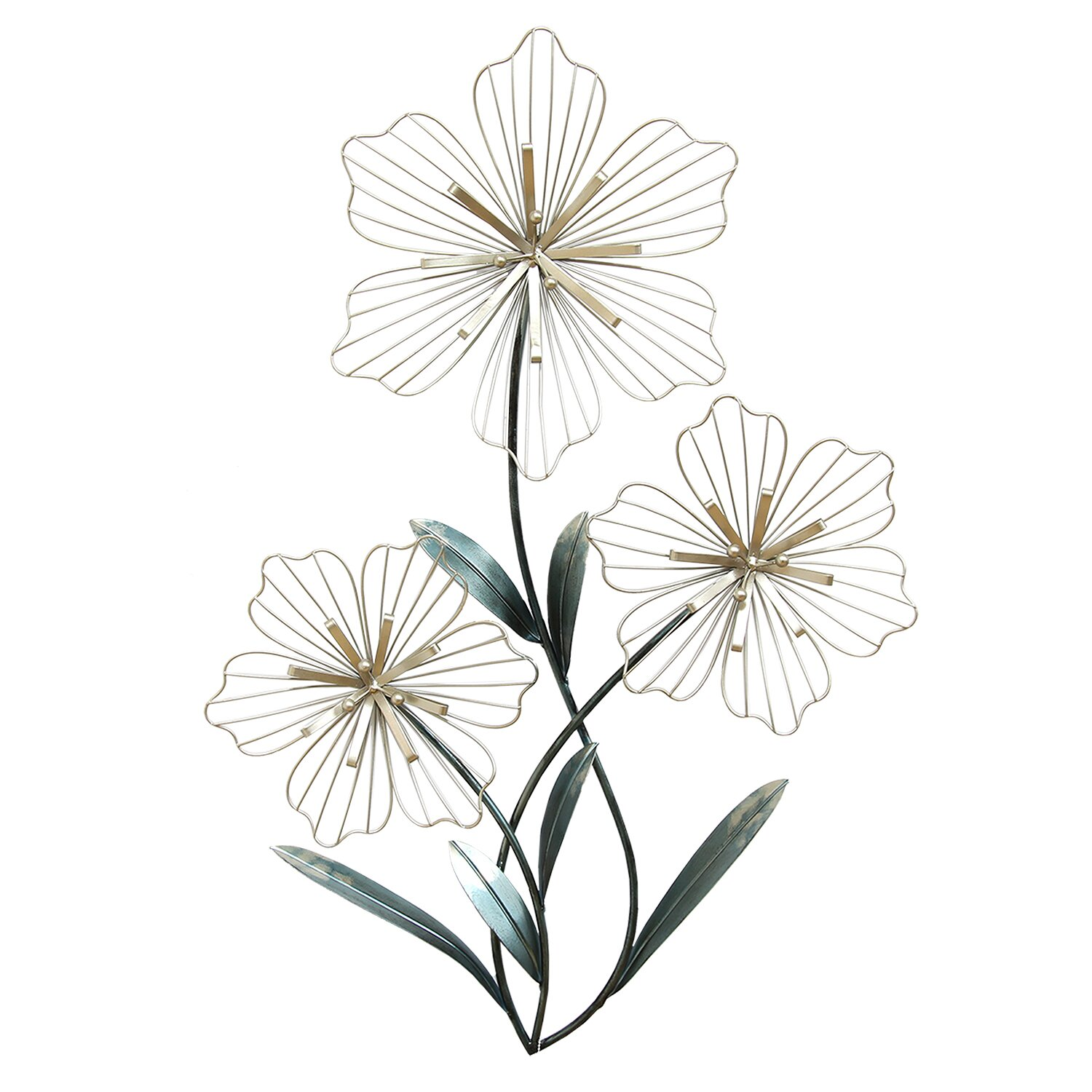 Stratton Home Decor Tri-Flower Wall Du0026eacute;cor