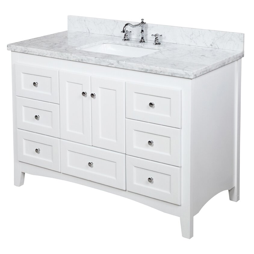 48 white bathroom vanity kbc 48 quot single bathroom vanity set amp reviews wayfair 15321