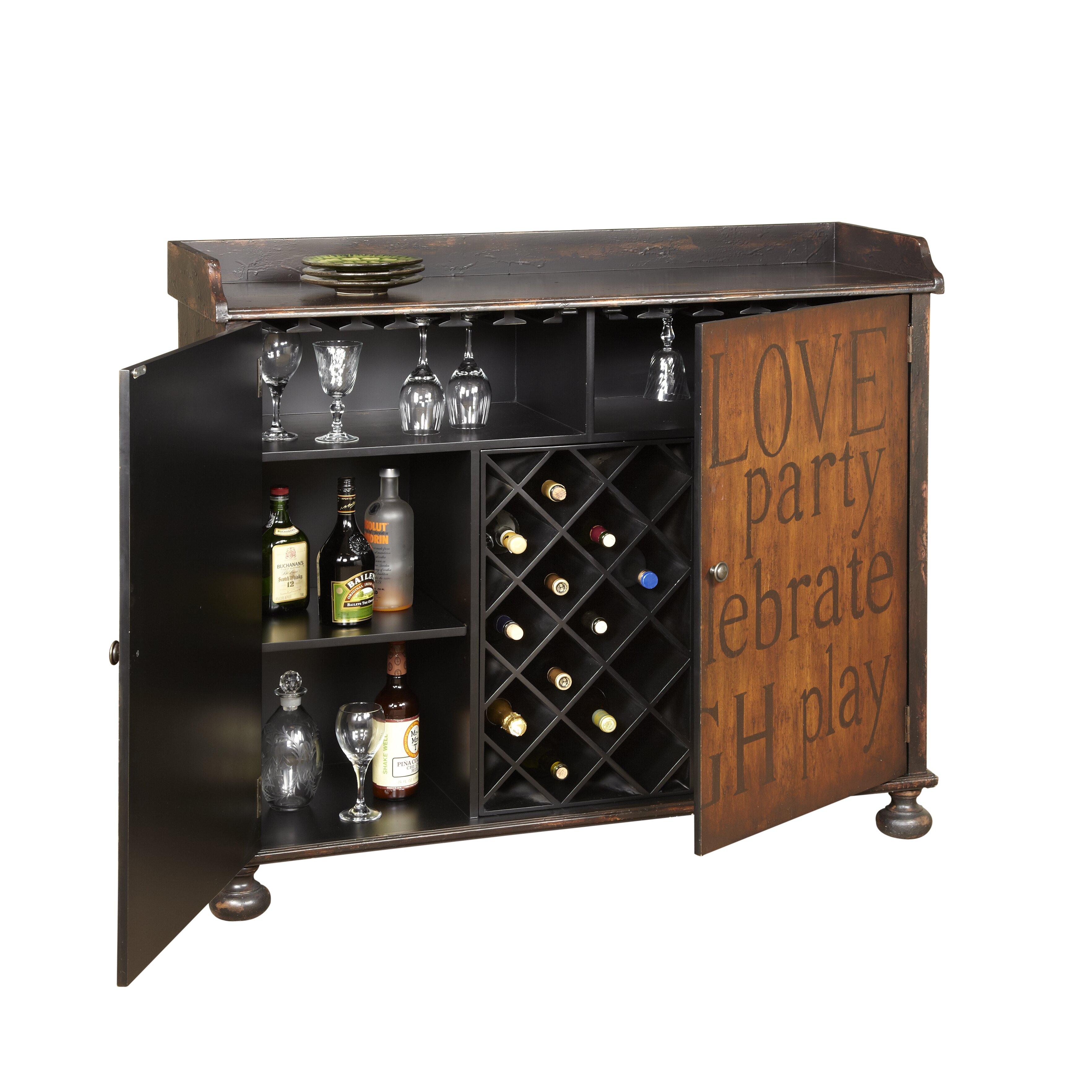 Wine Bar Storage Cabinet Red Barrel Studio Firefly Hollow Bar Cabinet With Wine Storage