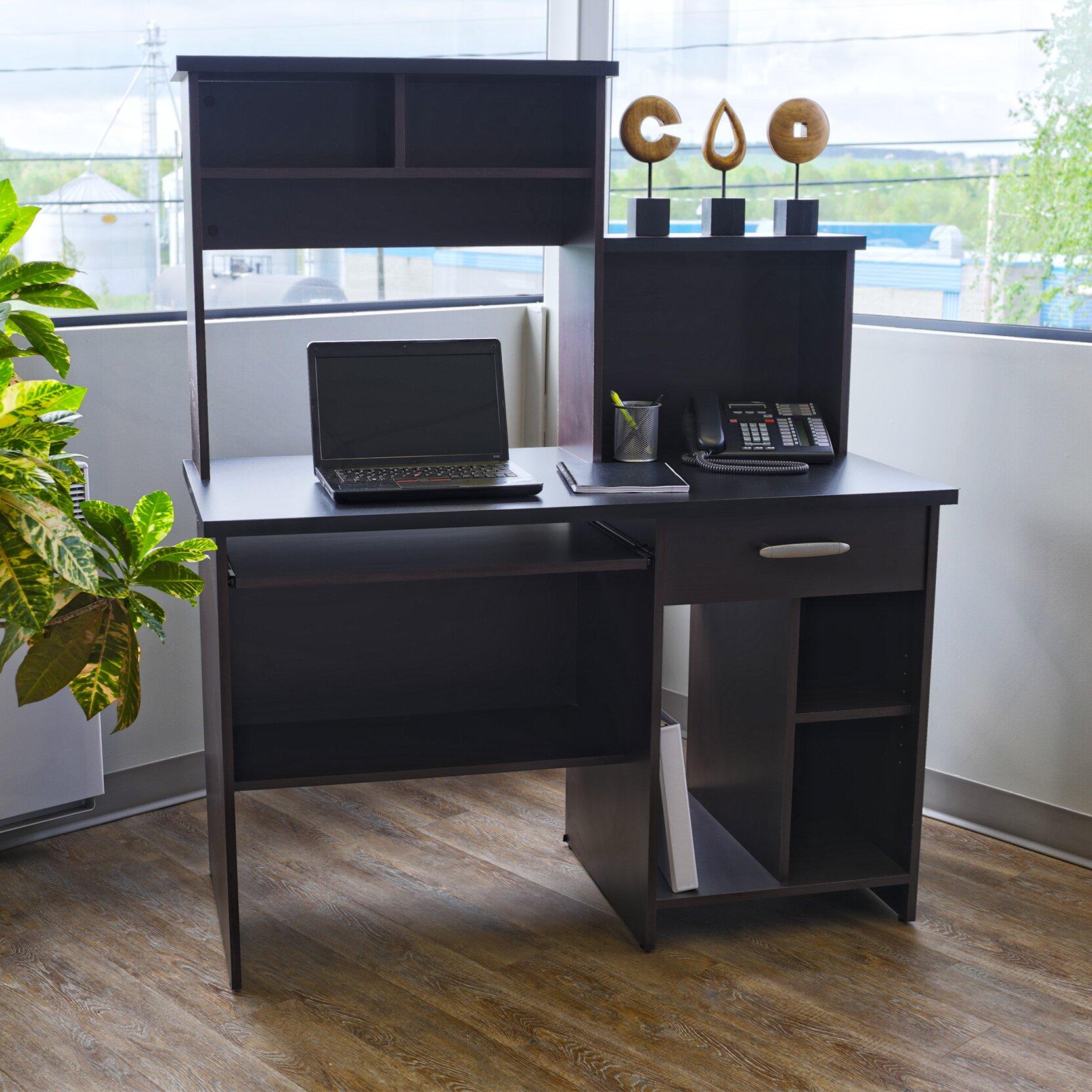 Bookcase Computer Desk: Red Barrel Studio Cushman Computer Desk With Bookcase In