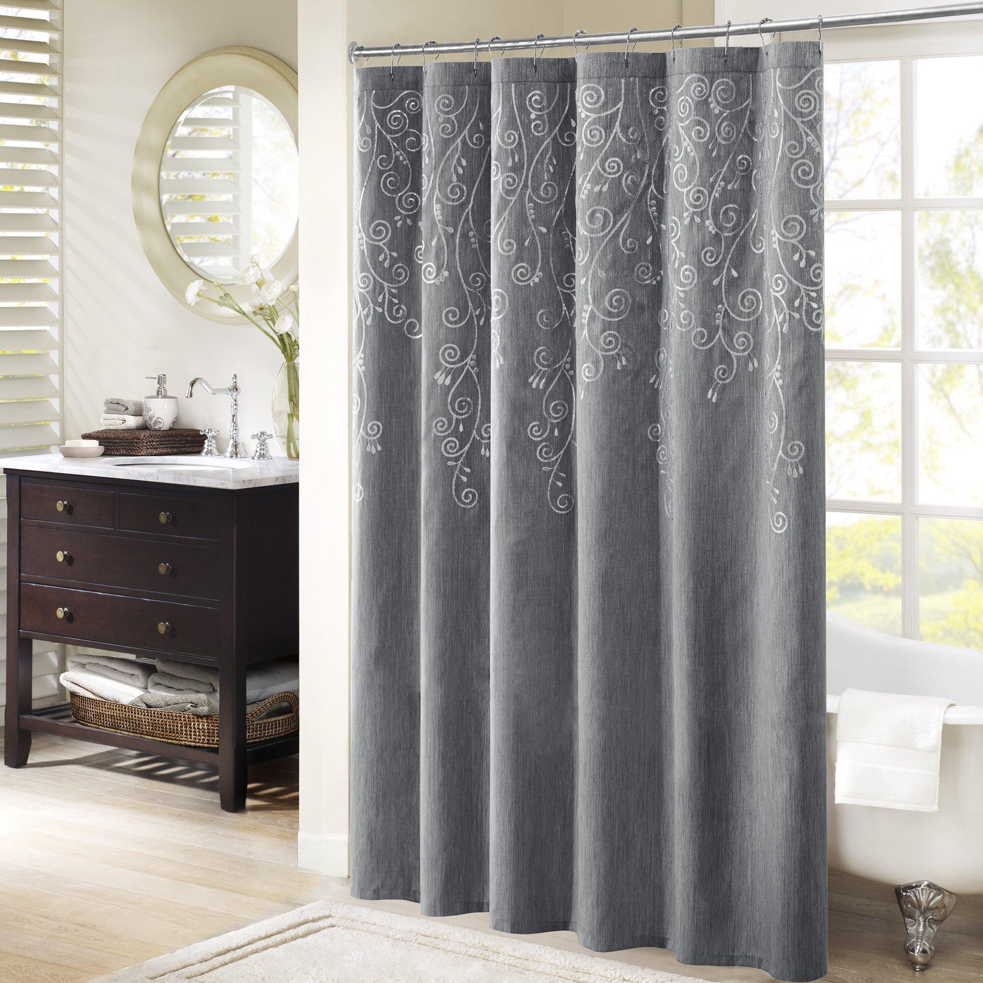 red barrel studio monrovia embroidered shower curtain