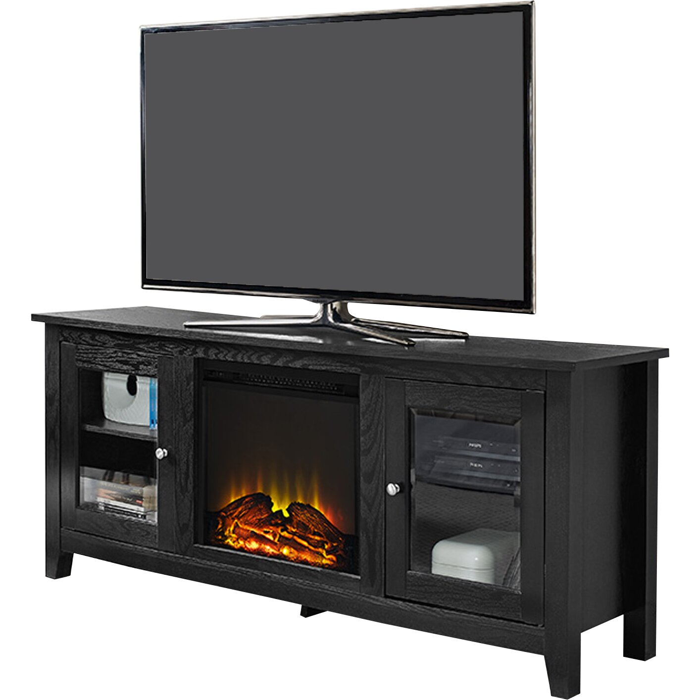 Red Barrel Studio® Riverwoods TV Stand with Electric Fireplace - Red Barrel Studio Riverwoods TV Stand With Electric Fireplace
