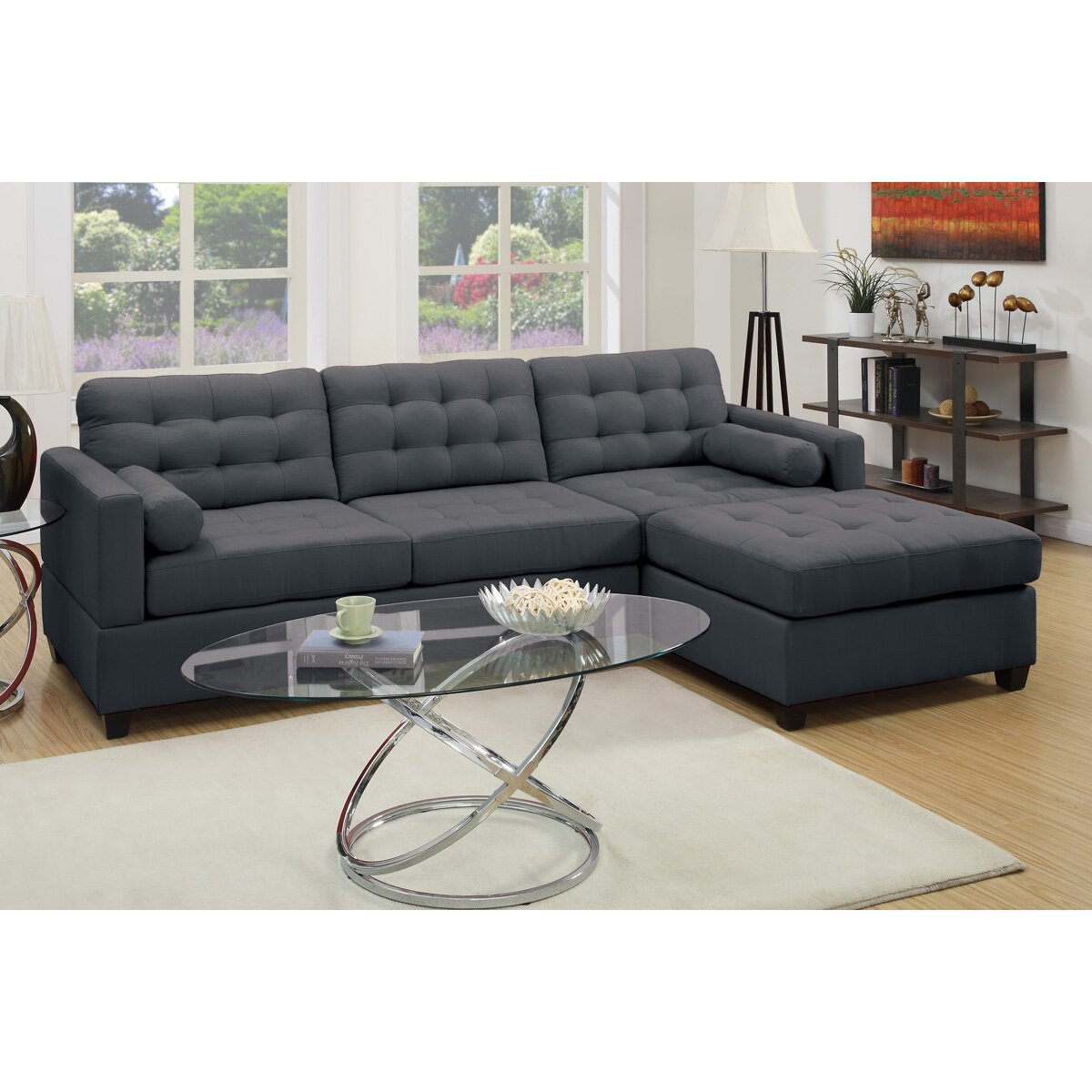 """Sectional Sofa Couch Reversible Chaise Ottoman Furniture: Corrine 110"""" Reversible Chaise Sectional & Reviews"""