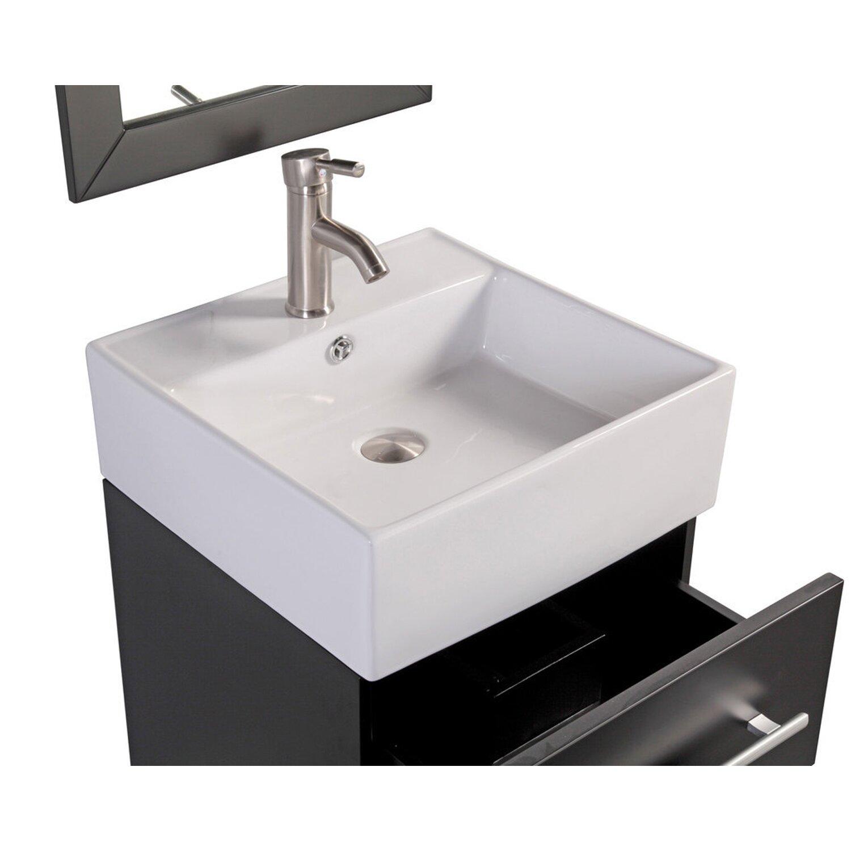 MTD Vanities Nepal 18 quot  Single Sink Wall Mounted Bathroom Vanity Set  with Mirror. MTDVanities Nepal 18  Single Sink Wall Mounted Bathroom Vanity Set