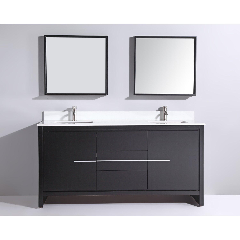 Mtdvanities cypress 72 double modern bathroom vanity set - Contemporary bathroom vanity sets ...