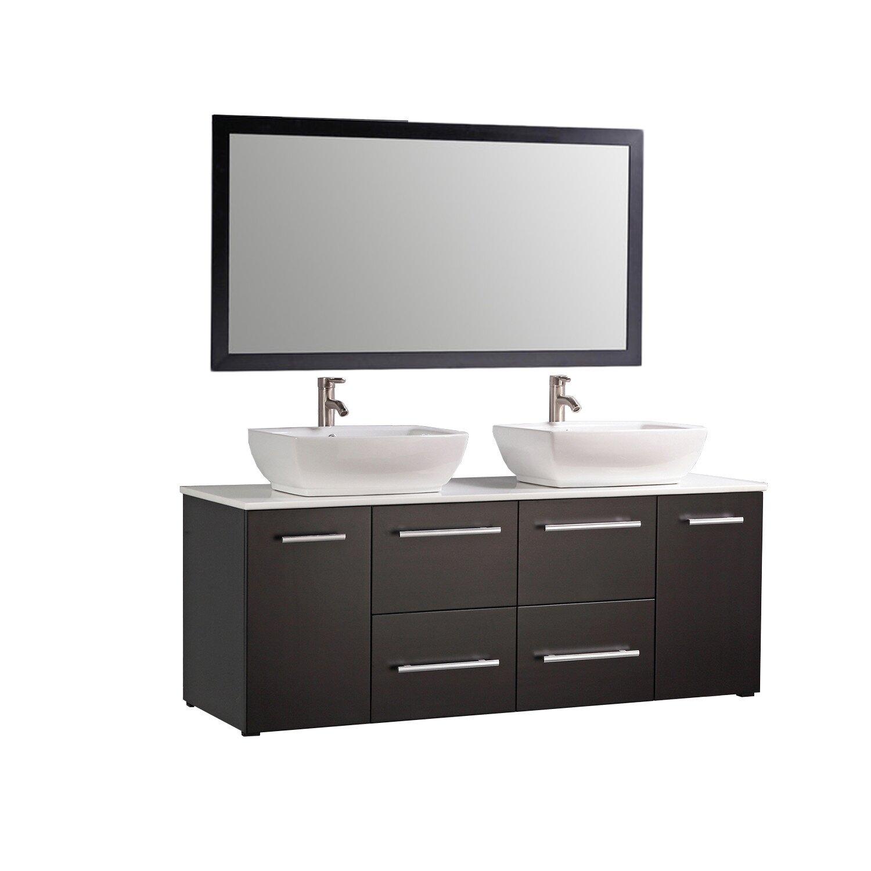 Floating bathroom vanities - Mtd Vanities Nepal 63 Quot Floating Double Bathroom Vanity Set With Mirror